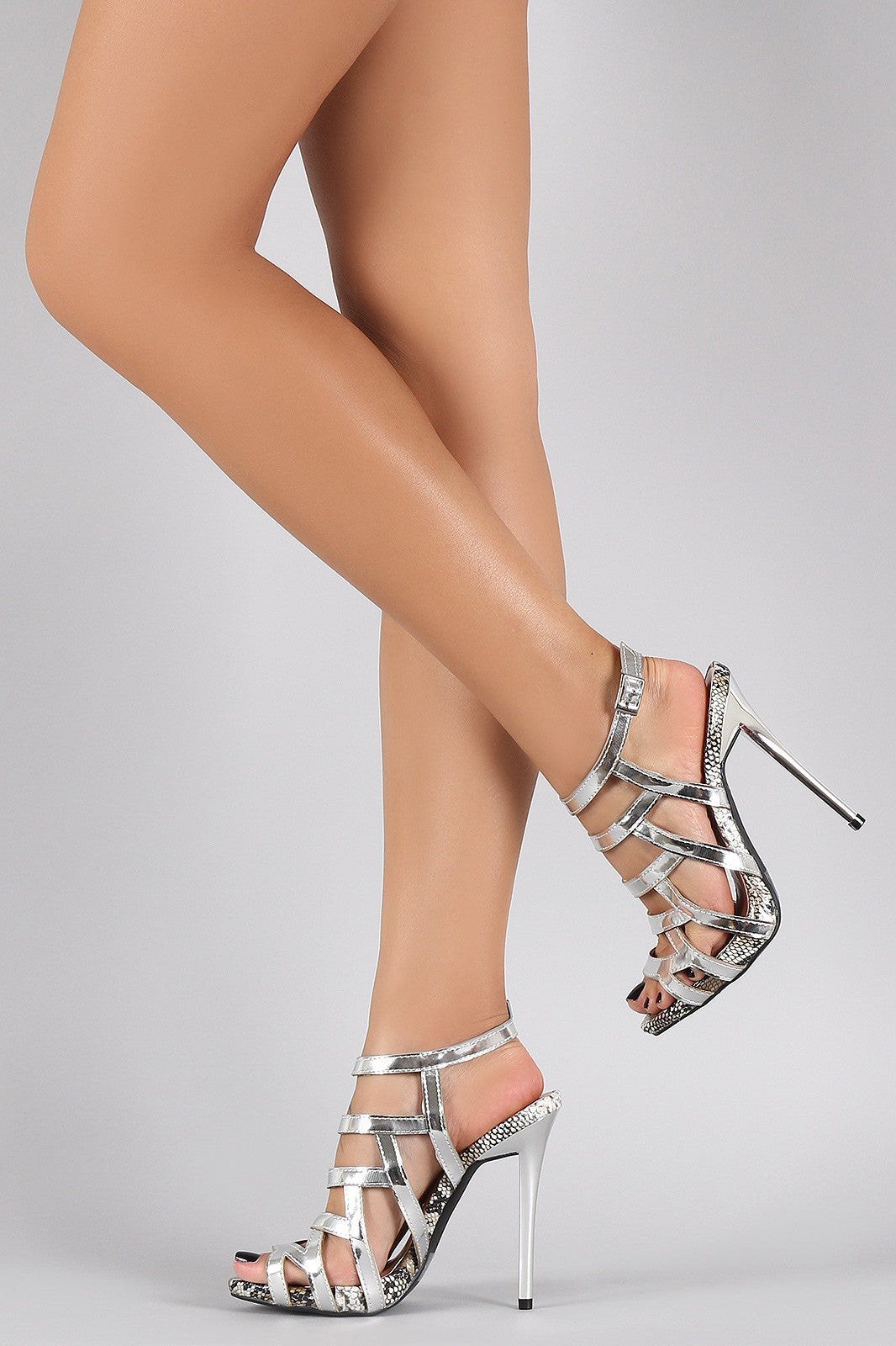 Qupid Metallic Strappy Snake Open Toe Stiletto Heel - Thick 'N' Curvy Shop - 6