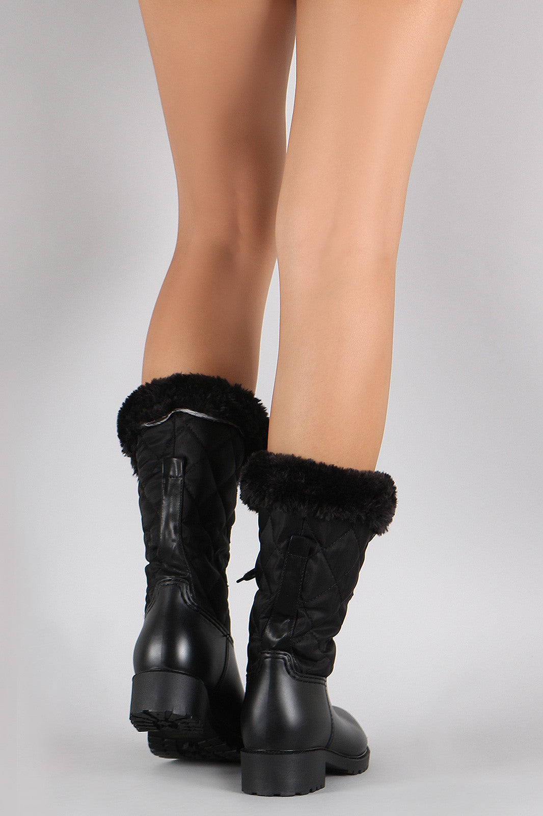 Quilted Faux Fur Cuff Lace Up Mid Calf Snow Boots - Thick 'N' Curvy Shop - 3