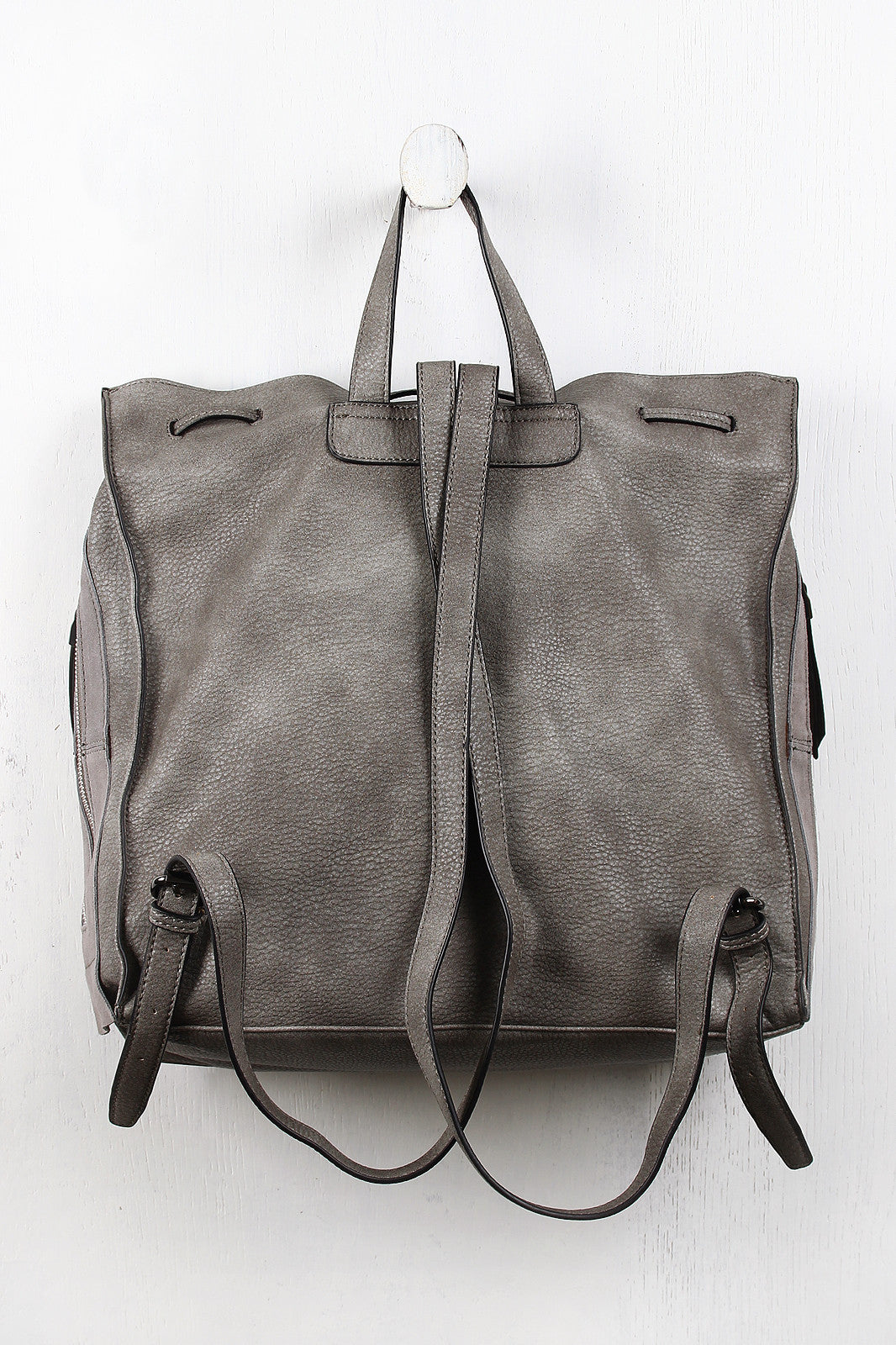 Boxy Suede And Leather Drawstring Backpack