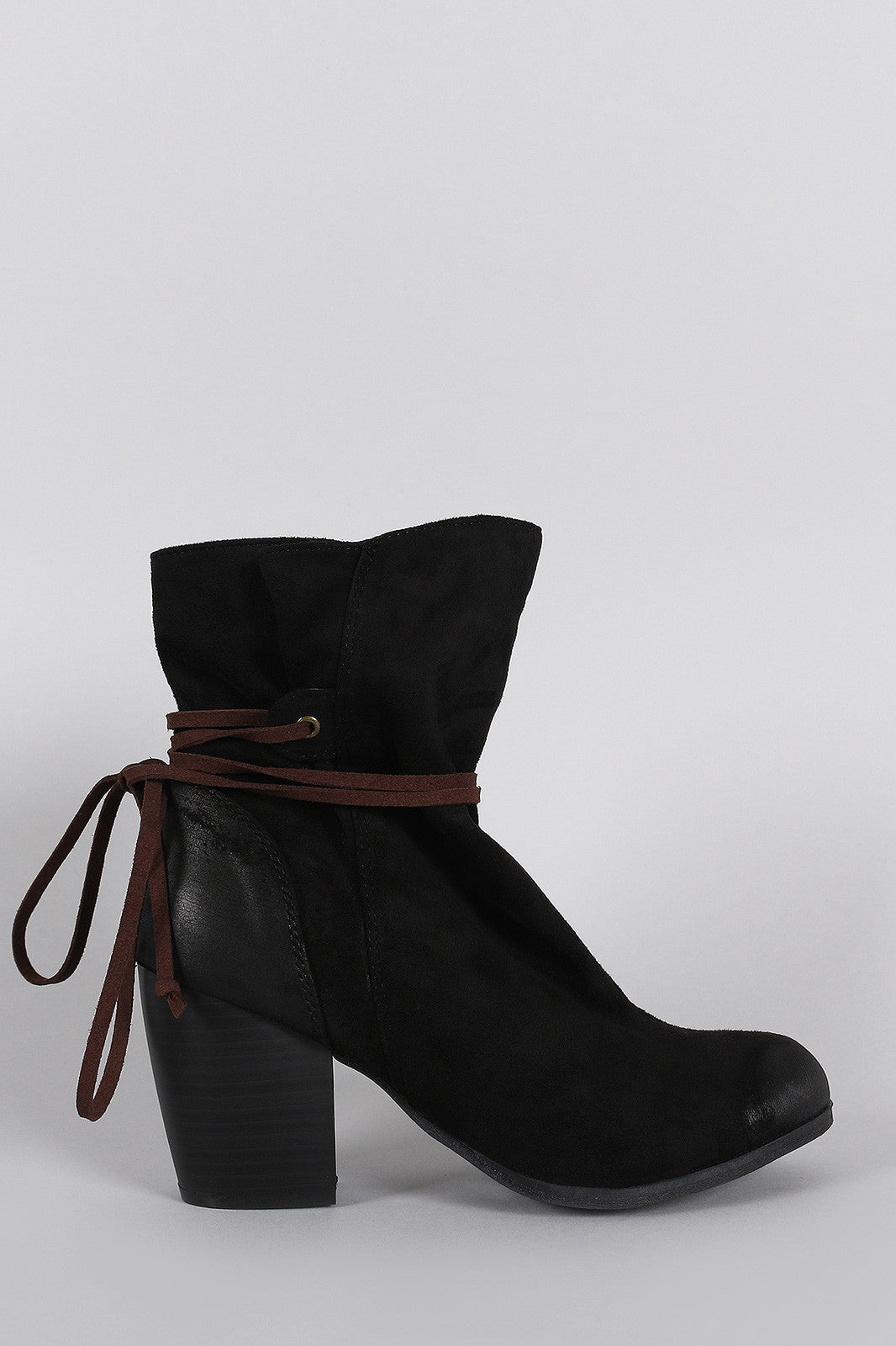 Qupid Suede Lace Tie Chunky Heeled Ankle Boots - Thick 'N' Curvy Shop - 1