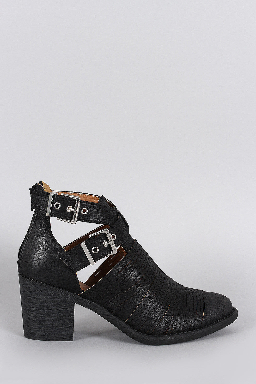 Qupid Slashed Crisscross Buckled Strap Chunky Heeled Ankle Boots - Thick 'N' Curvy Shop - 4