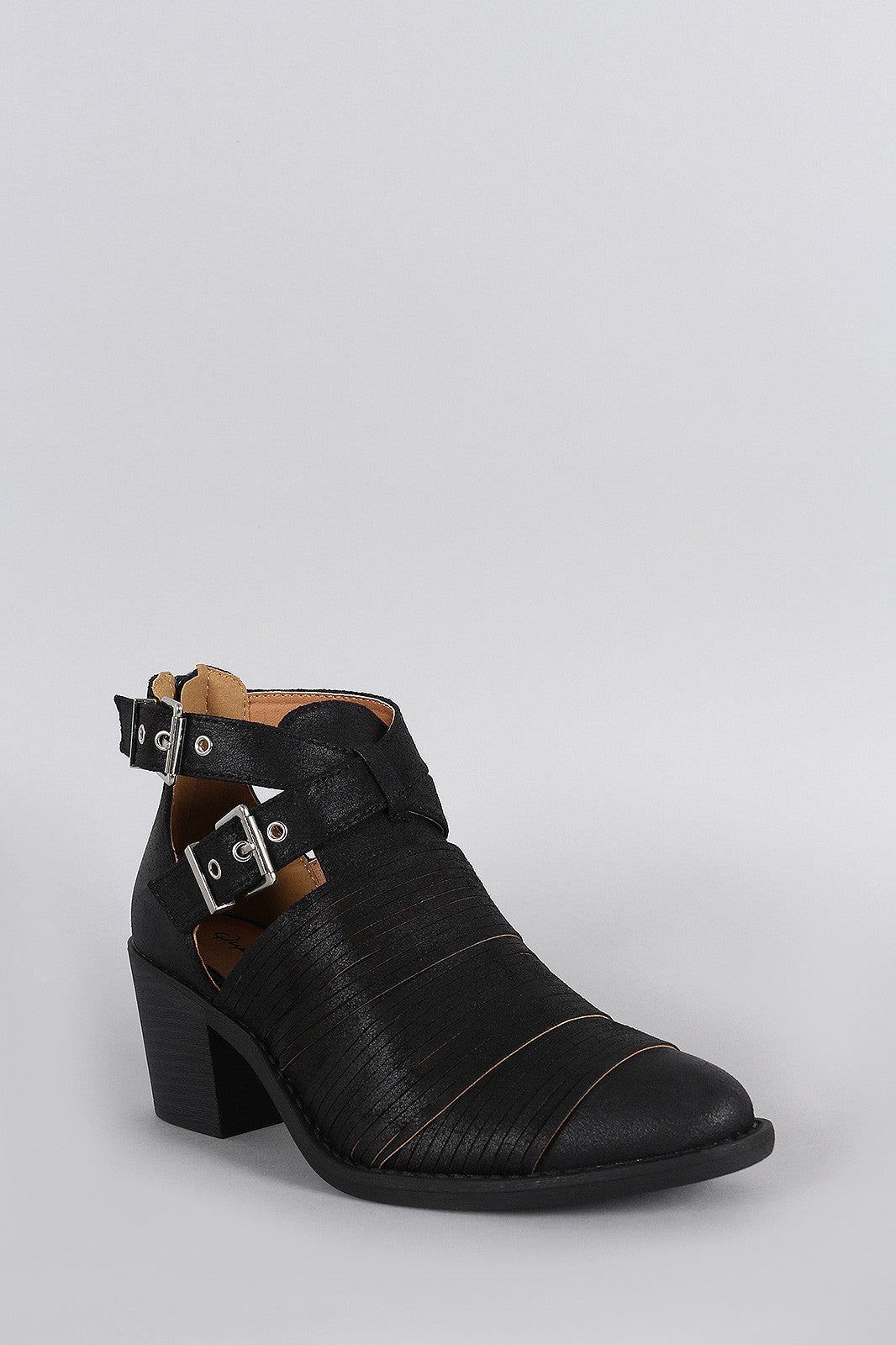 Qupid Slashed Crisscross Buckled Strap Chunky Heeled Ankle Boots - Thick 'N' Curvy Shop - 5
