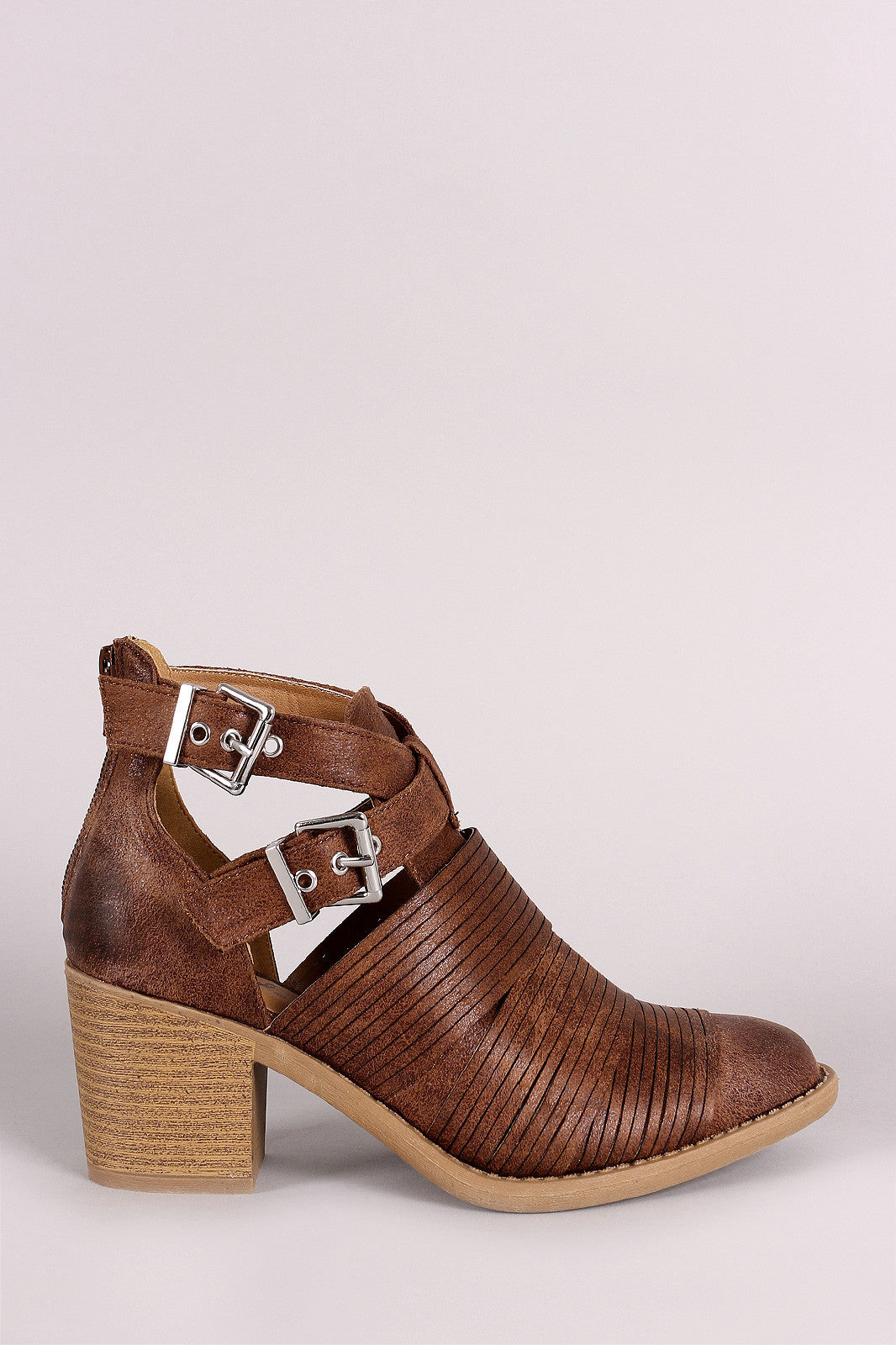 Qupid Slashed Crisscross Buckled Strap Chunky Heeled Ankle Boots - Thick 'N' Curvy Shop - 10