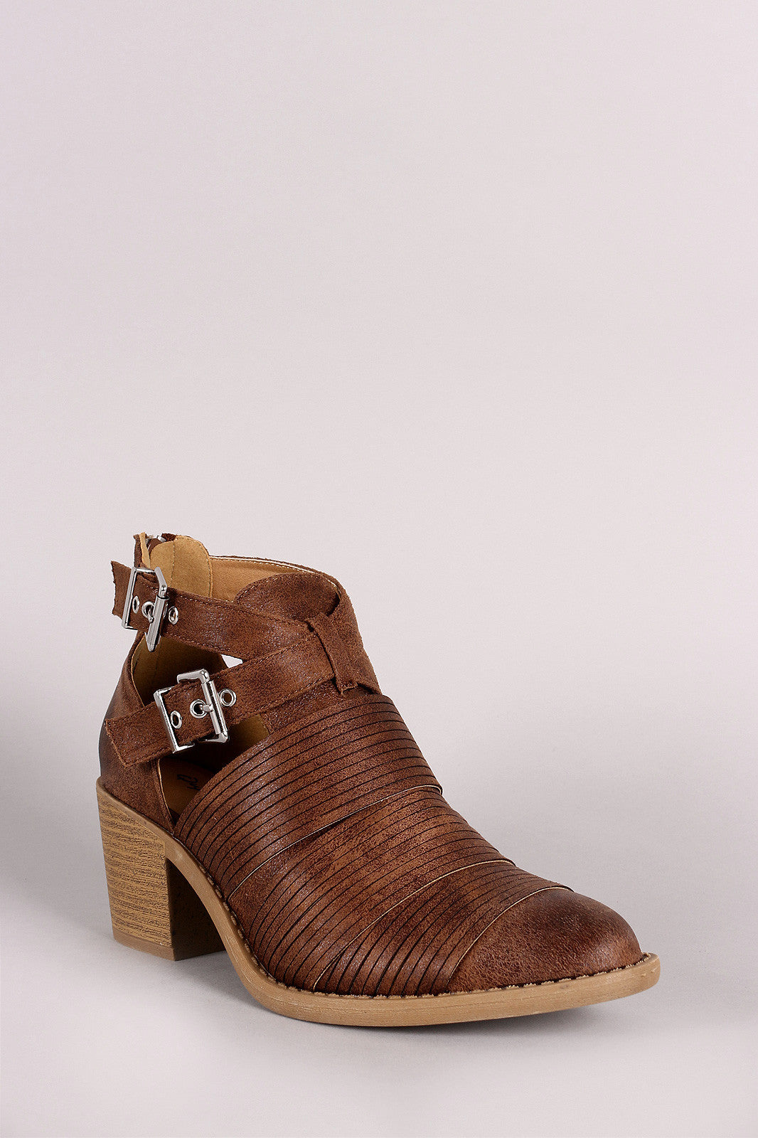 Qupid Slashed Crisscross Buckled Strap Chunky Heeled Ankle Boots - Thick 'N' Curvy Shop - 11