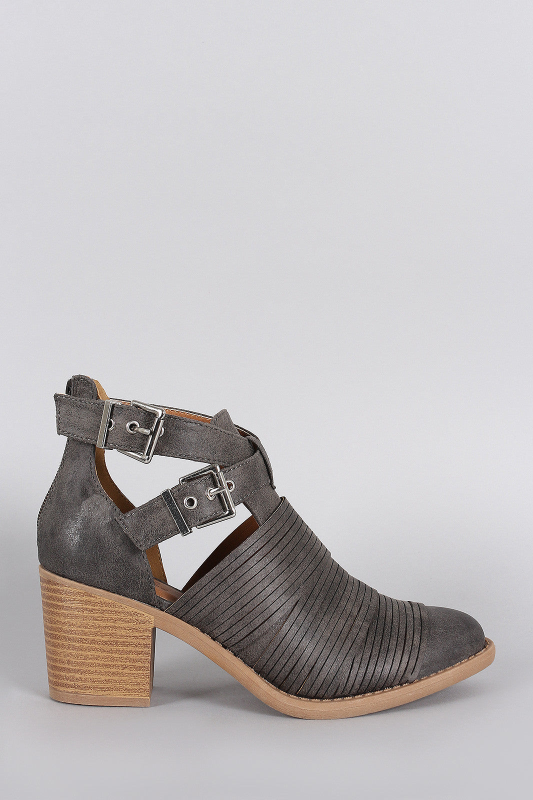 Qupid Slashed Crisscross Buckled Strap Chunky Heeled Ankle Boots - Thick 'N' Curvy Shop - 1