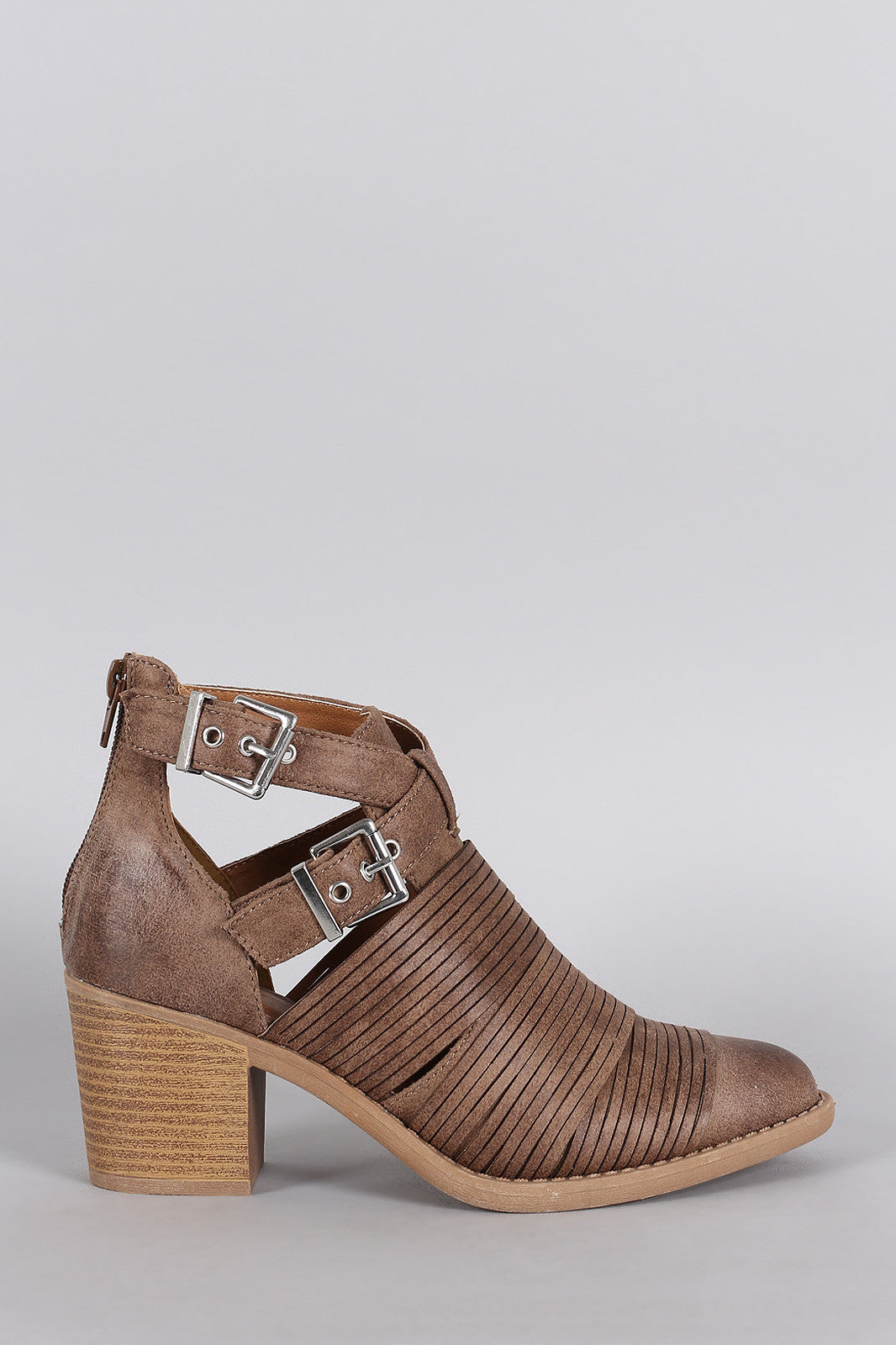 Qupid Slashed Crisscross Buckled Strap Chunky Heeled Ankle Boots - Thick 'N' Curvy Shop - 7