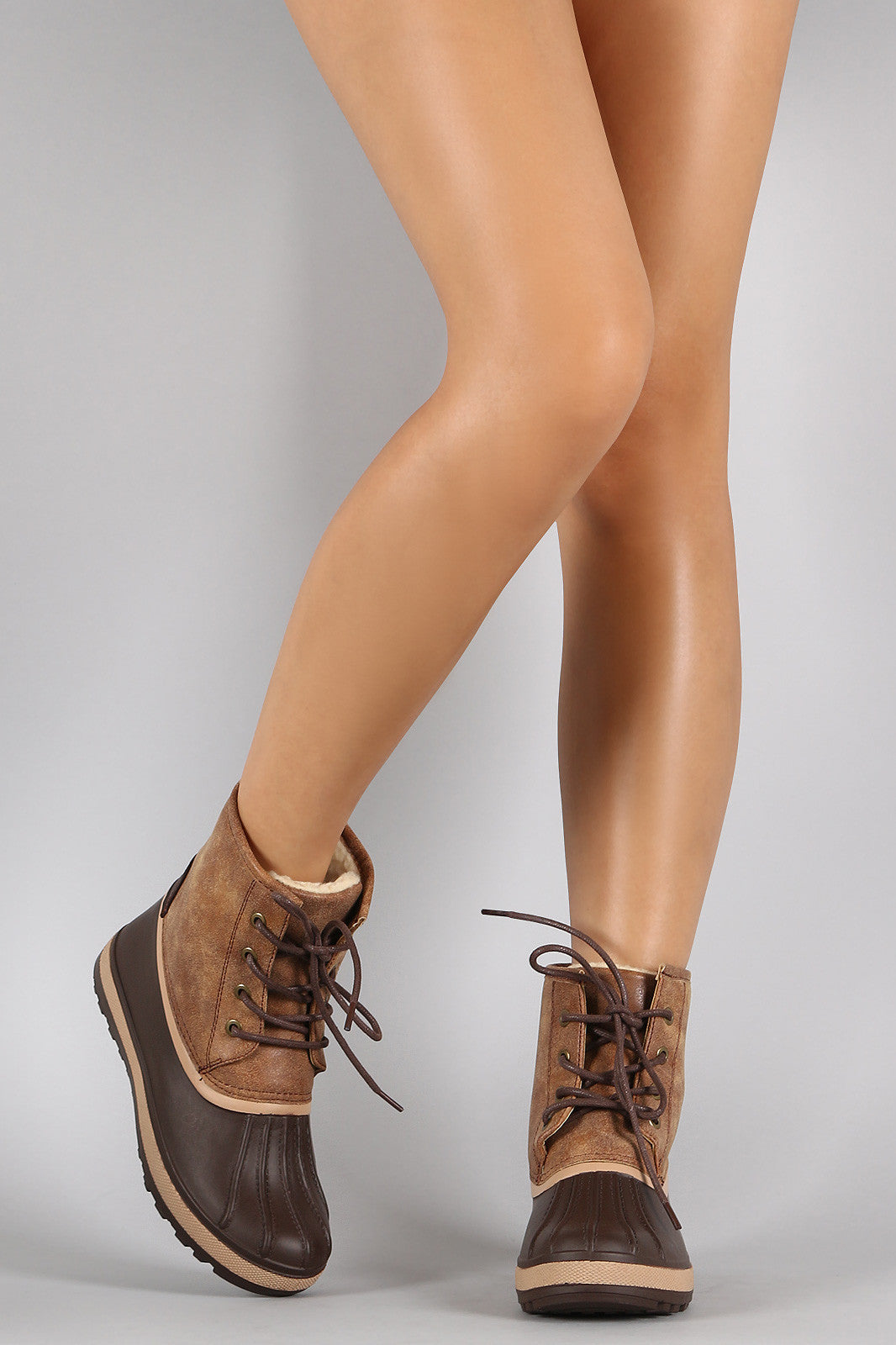 Bamboo Contrast Lace Up Round Toe Duck Ankle Boots - Thick 'N' Curvy Shop - 3