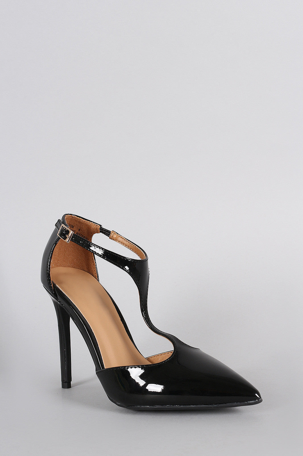 Patent Vegan Leather T-Strap Pointy Toe Pump - Thick 'N' Curvy Shop - 3