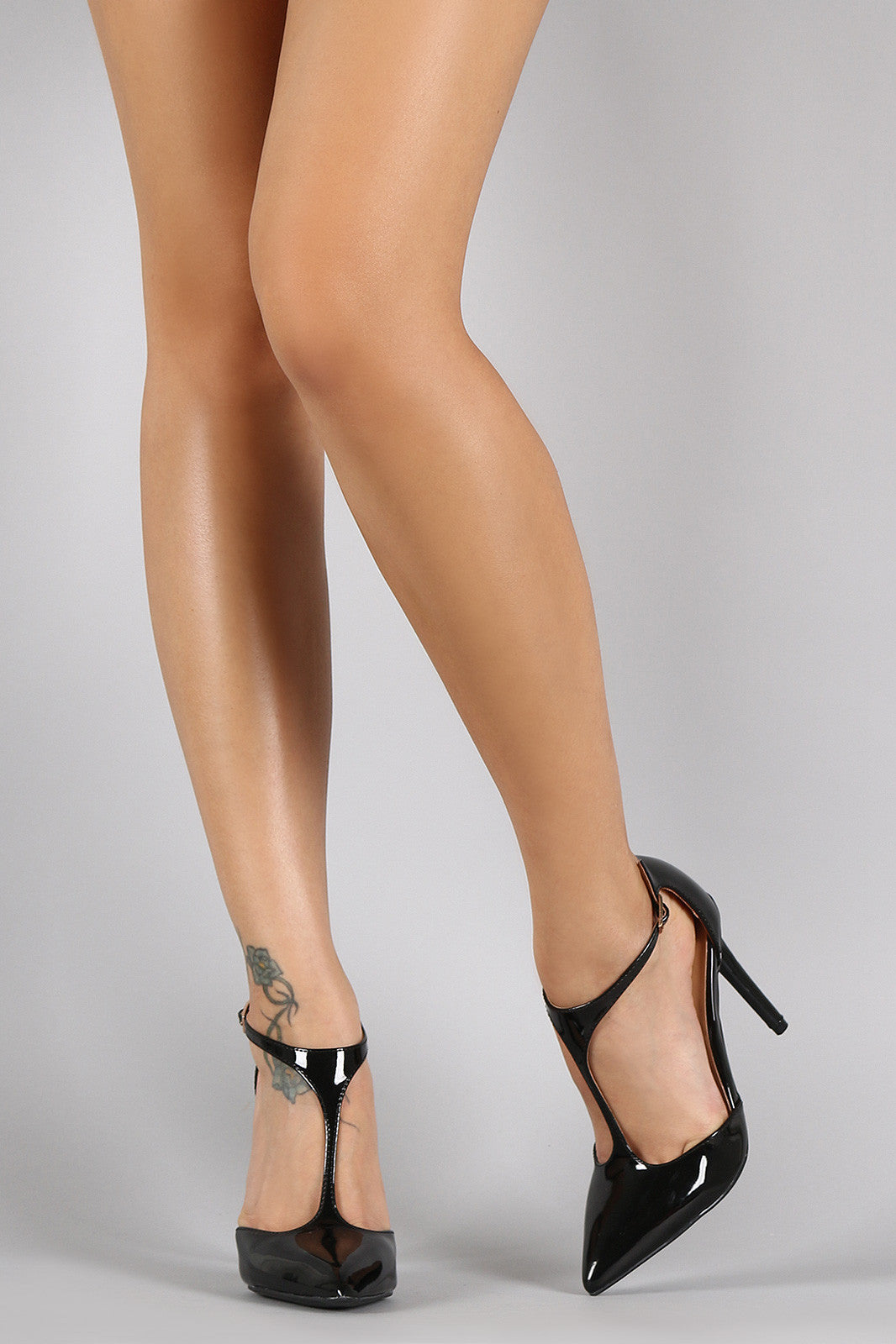 Patent Vegan Leather T-Strap Pointy Toe Pump - Thick 'N' Curvy Shop - 2