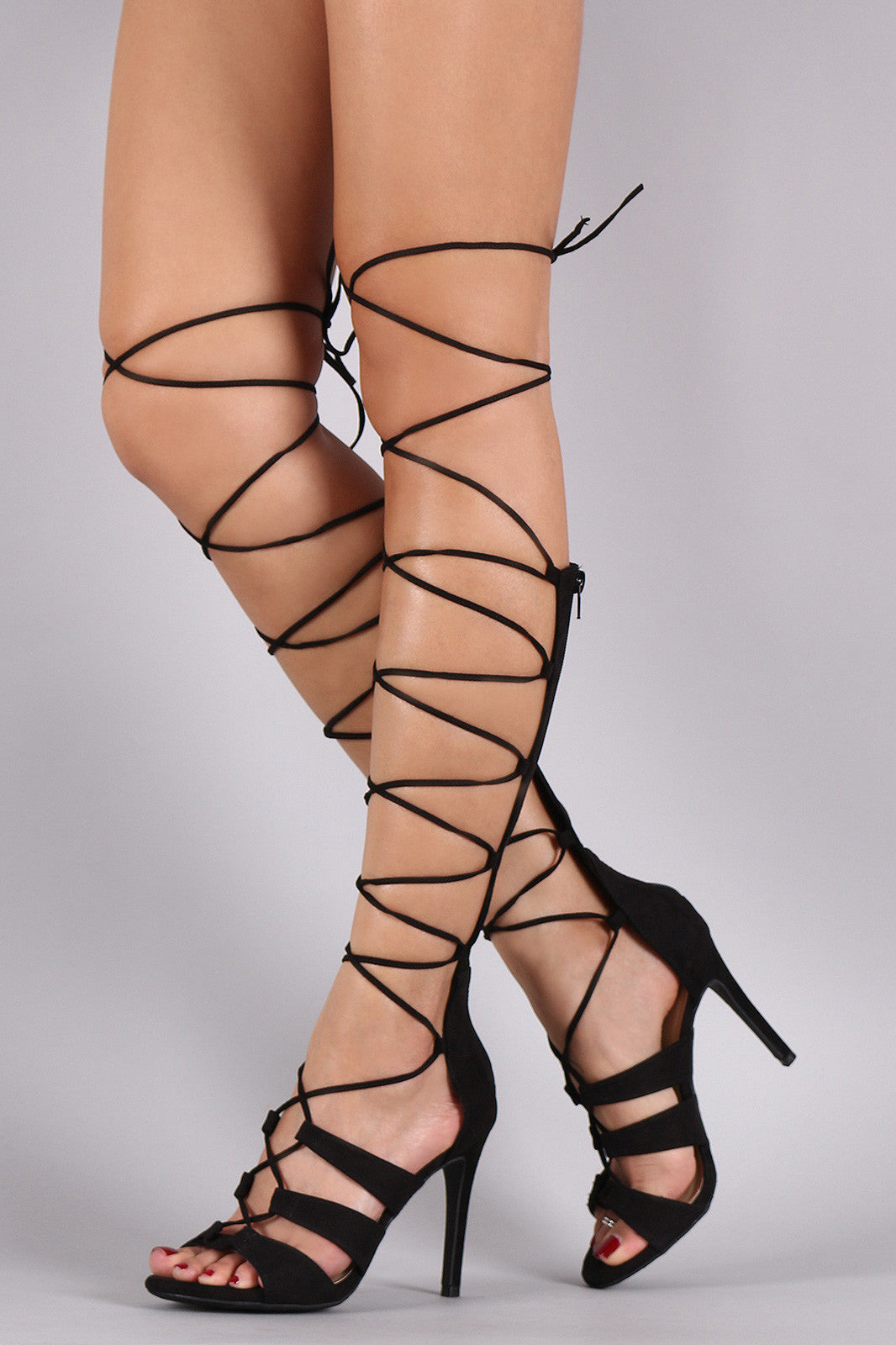 Wild Diva Lounge Suede Strappy Lace Up Gladiator Heel - Thick 'N' Curvy Shop - 2