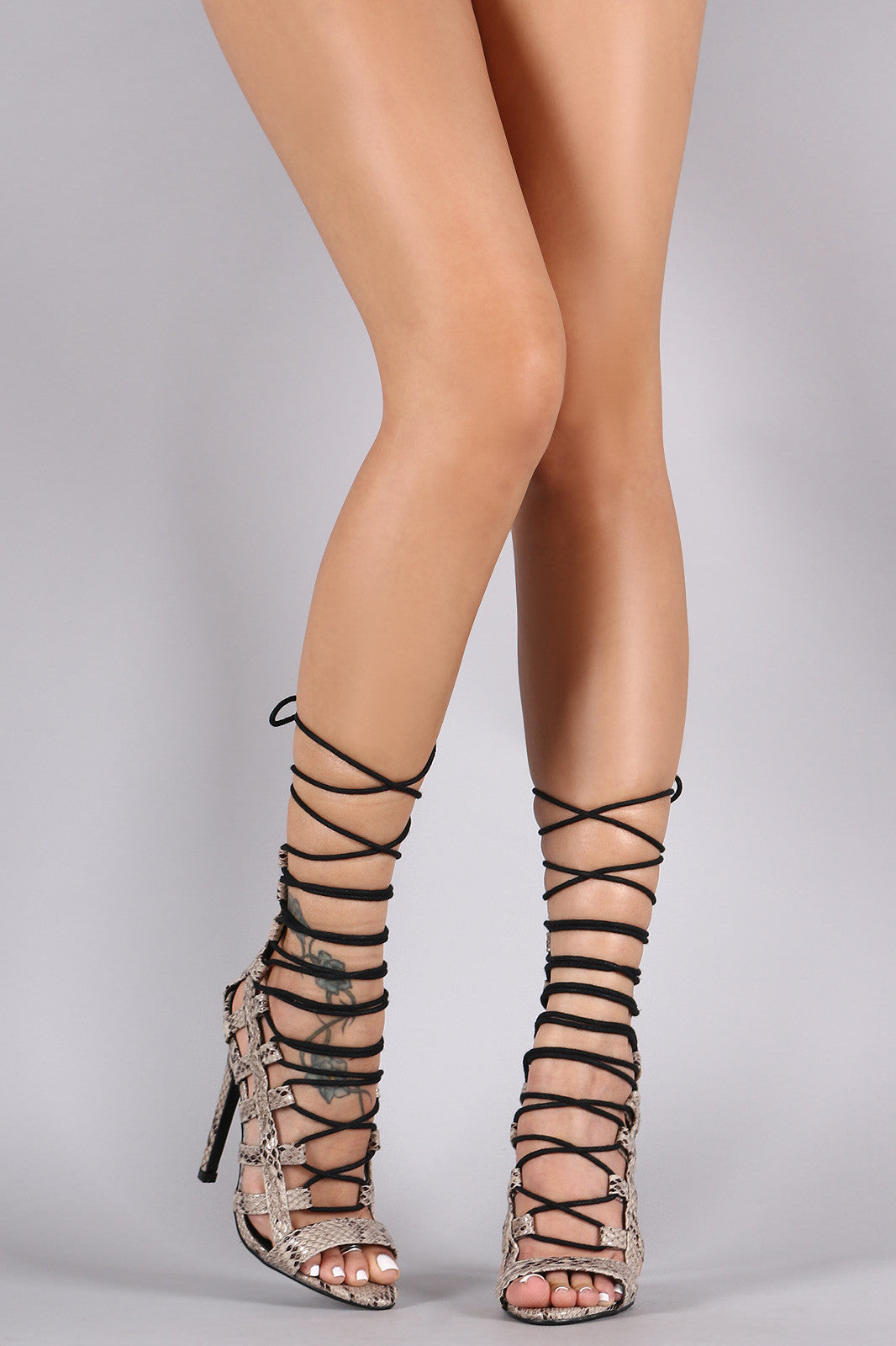 Python Strappy Caged Lace Up Stiletto Heel - Thick 'N' Curvy Shop - 1