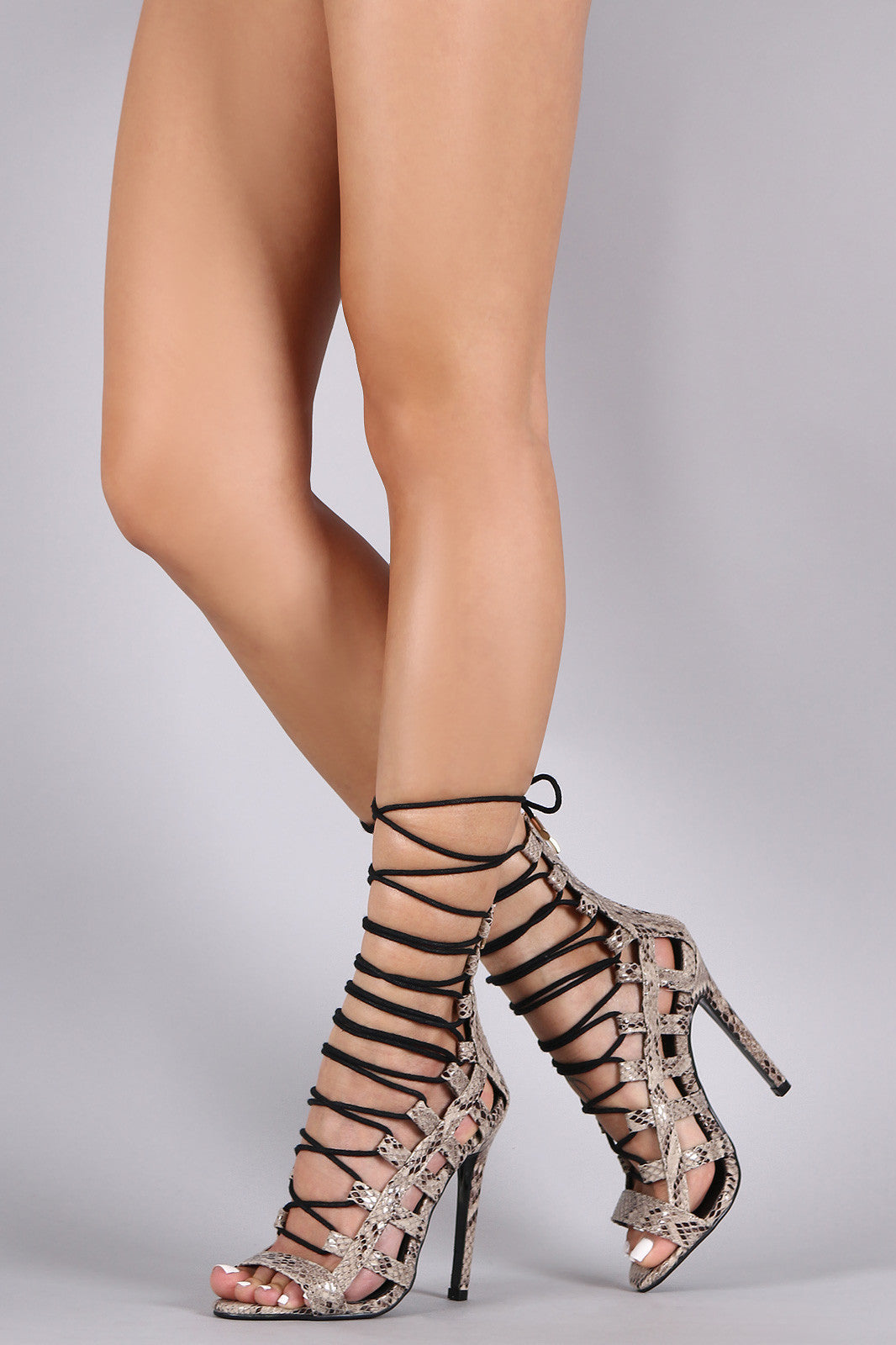 Python Strappy Caged Lace Up Stiletto Heel - Thick 'N' Curvy Shop - 2