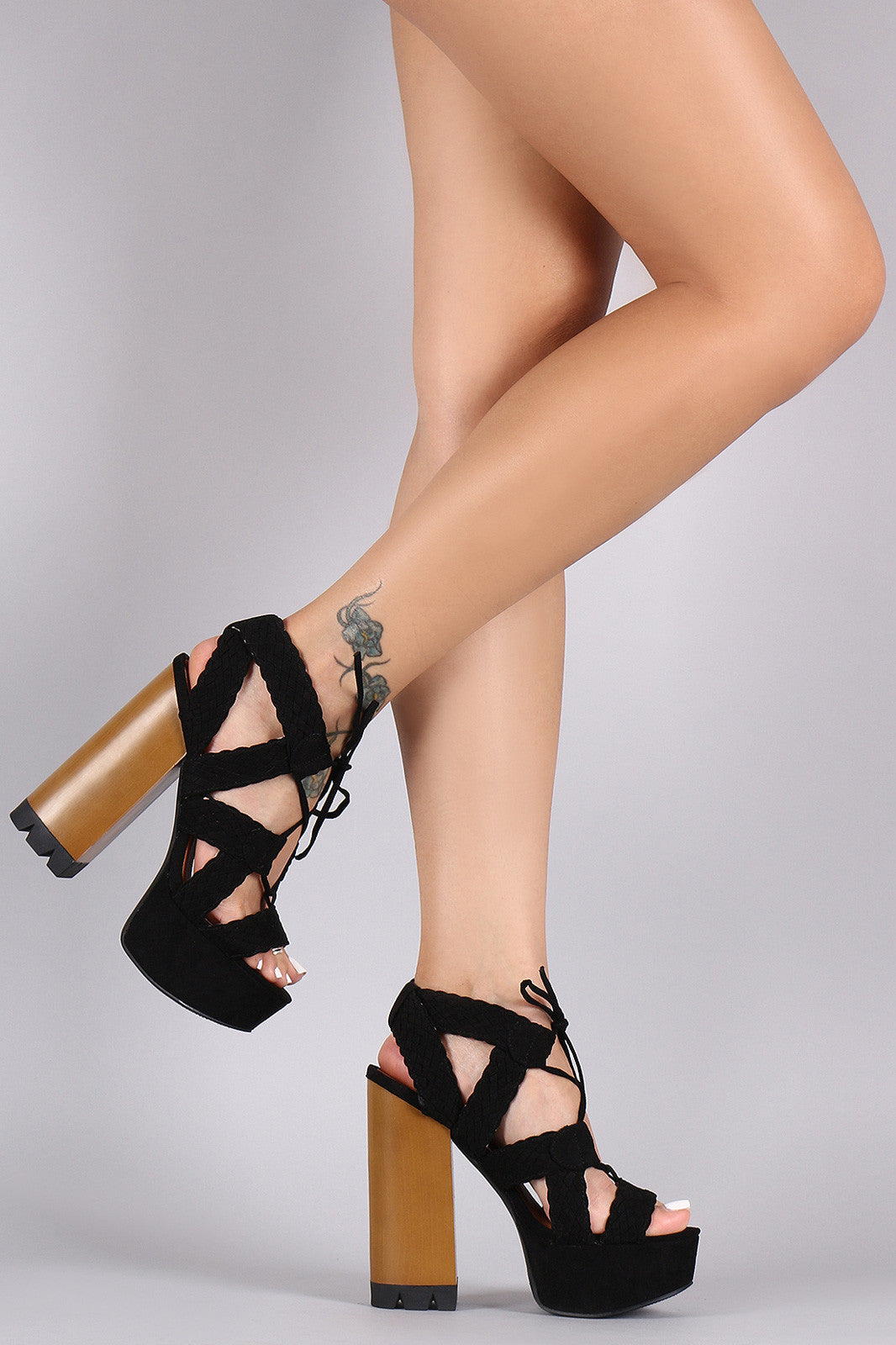 Qupid Strappy Woven Lace Up Chunky Platform Heel - Thick 'N' Curvy Shop - 4
