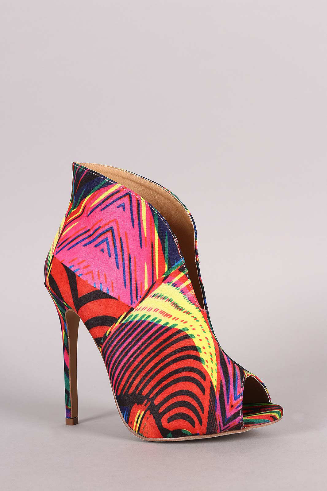 Liliana Multicolor Patterned V-Slit Peep Toe Stiletto Booties - Thick 'N' Curvy Shop - 5
