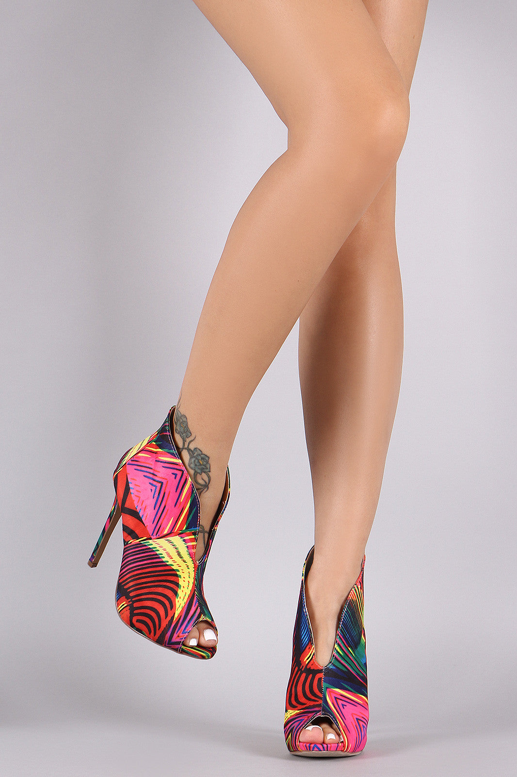Liliana Multicolor Patterned V-Slit Peep Toe Stiletto Booties - Thick 'N' Curvy Shop - 6
