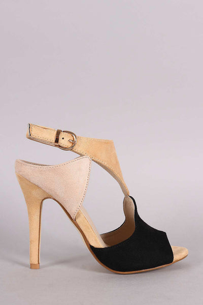 Cutout Block Color Peep Toe Stiletto Heel - Thick 'N' Curvy Shop - 1