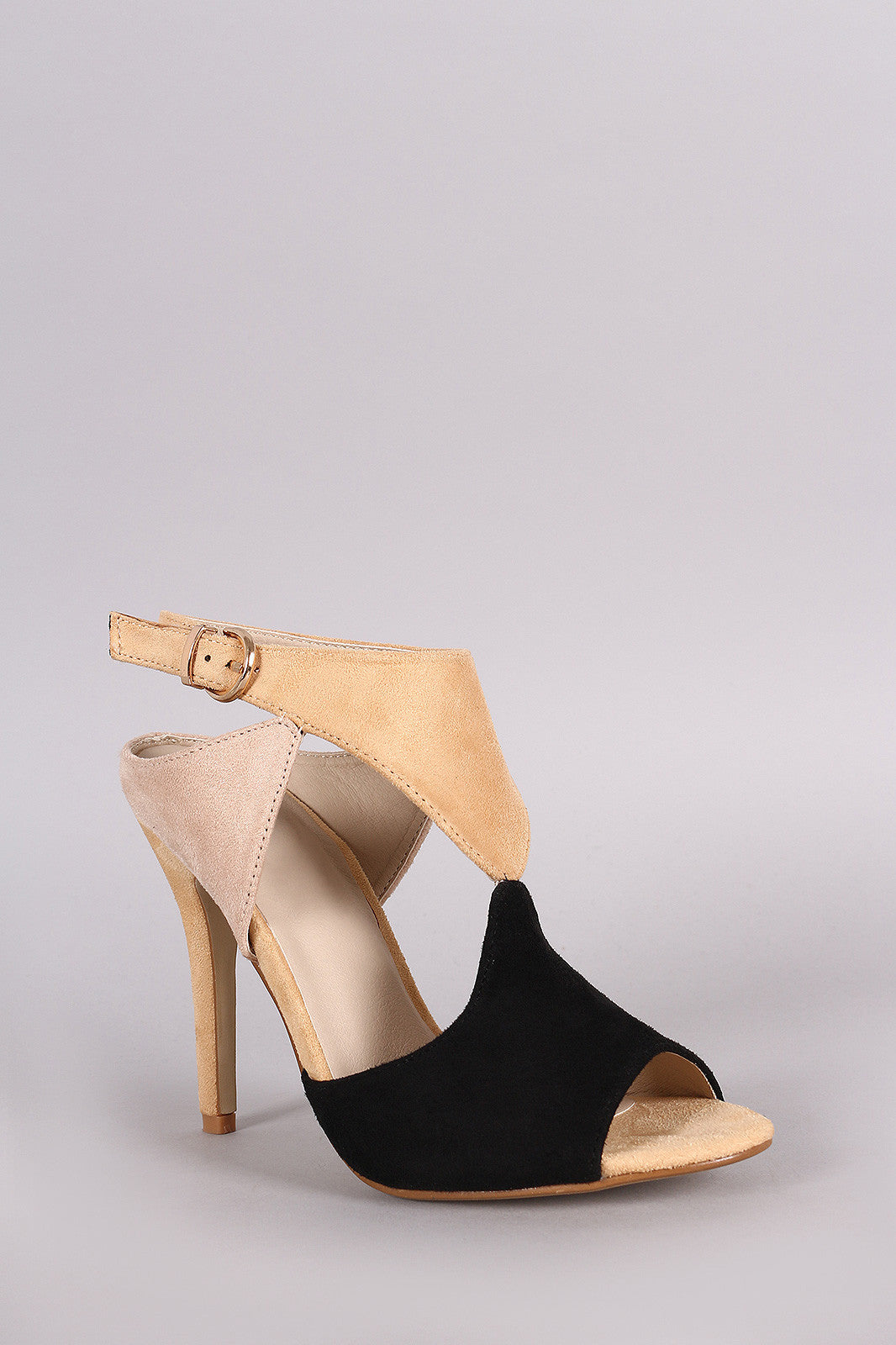 Cutout Block Color Peep Toe Stiletto Heel - Thick 'N' Curvy Shop - 3
