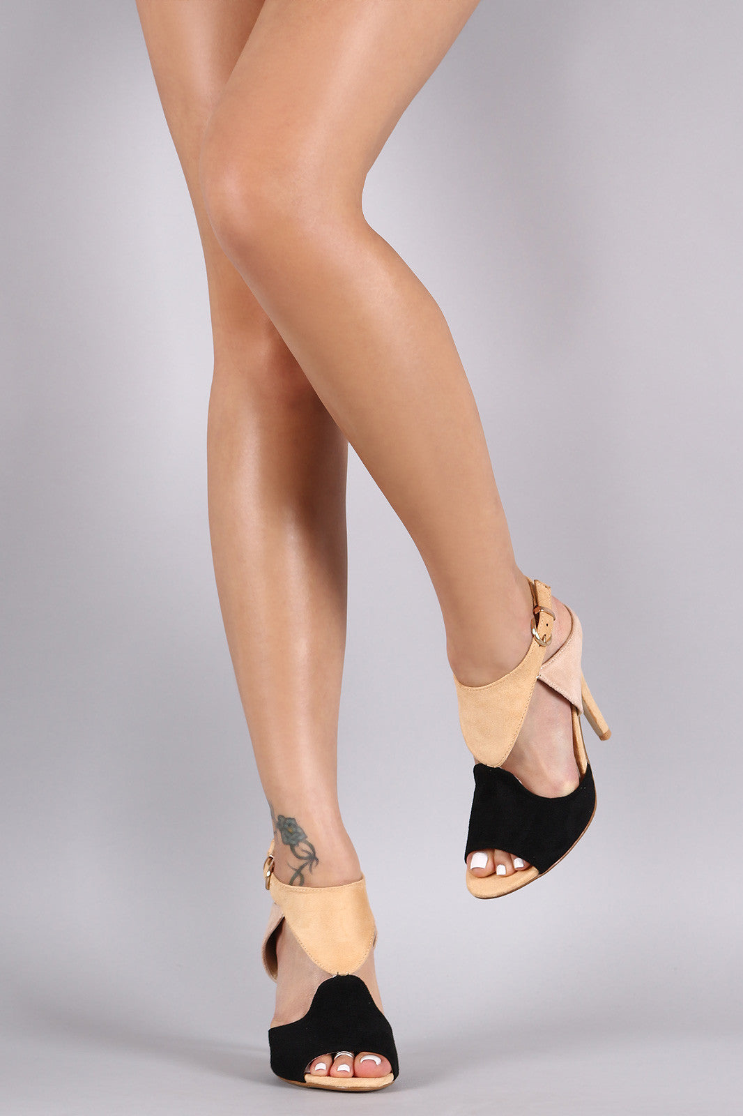 Cutout Block Color Peep Toe Stiletto Heel - Thick 'N' Curvy Shop - 2