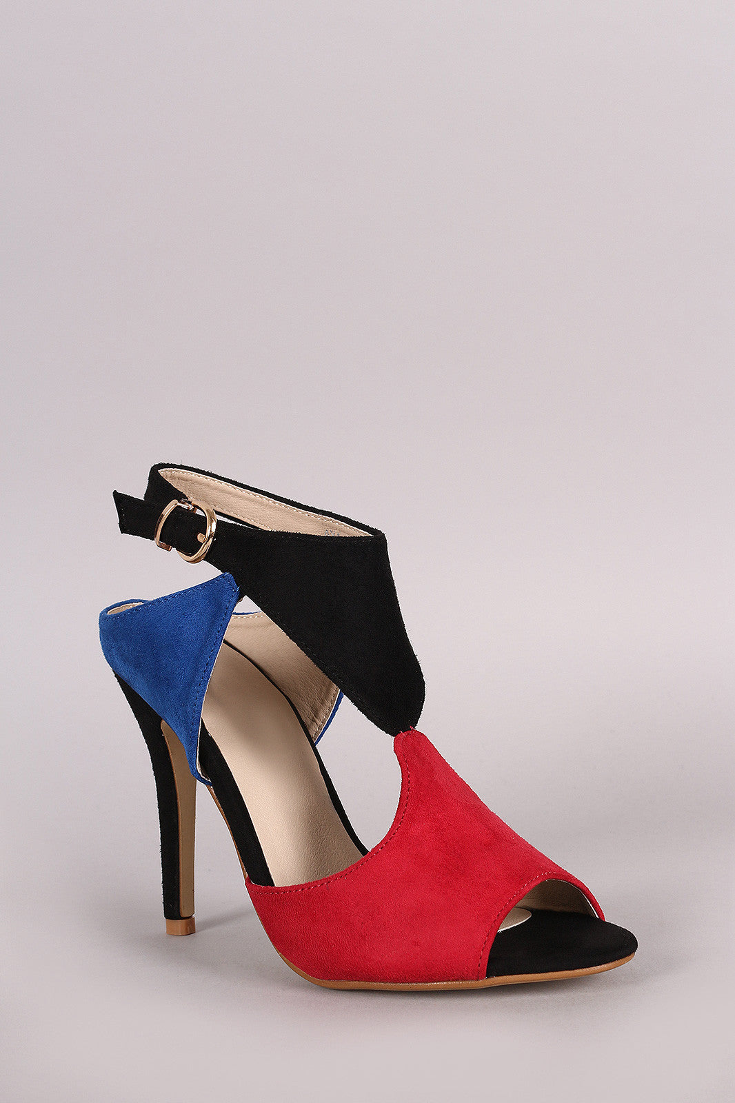 Cutout Block Color Peep Toe Stiletto Heel - Thick 'N' Curvy Shop - 5