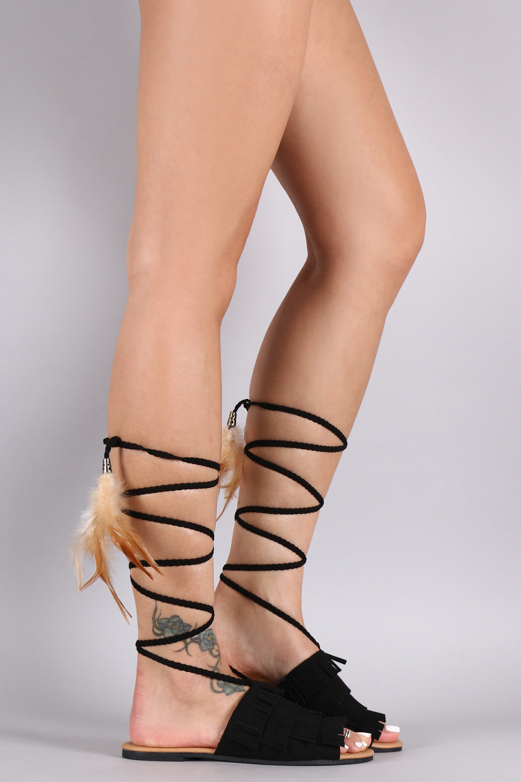 Qupid Fringe Feathers Slide Sandals - Thick 'N' Curvy Shop - 1