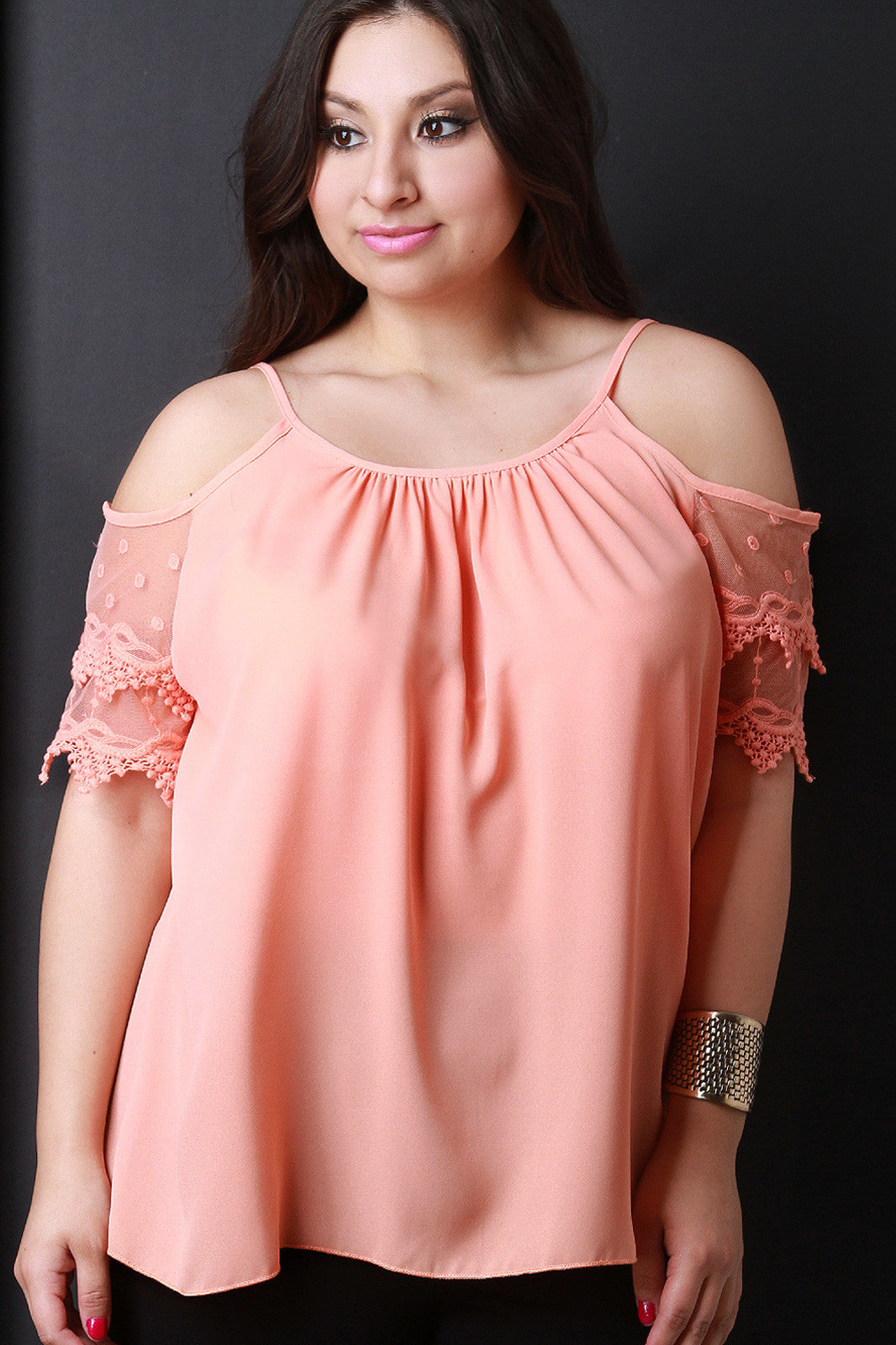 Lace Short Sleeves Cold Shoulder Top - Thick 'N' Curvy Shop - 1
