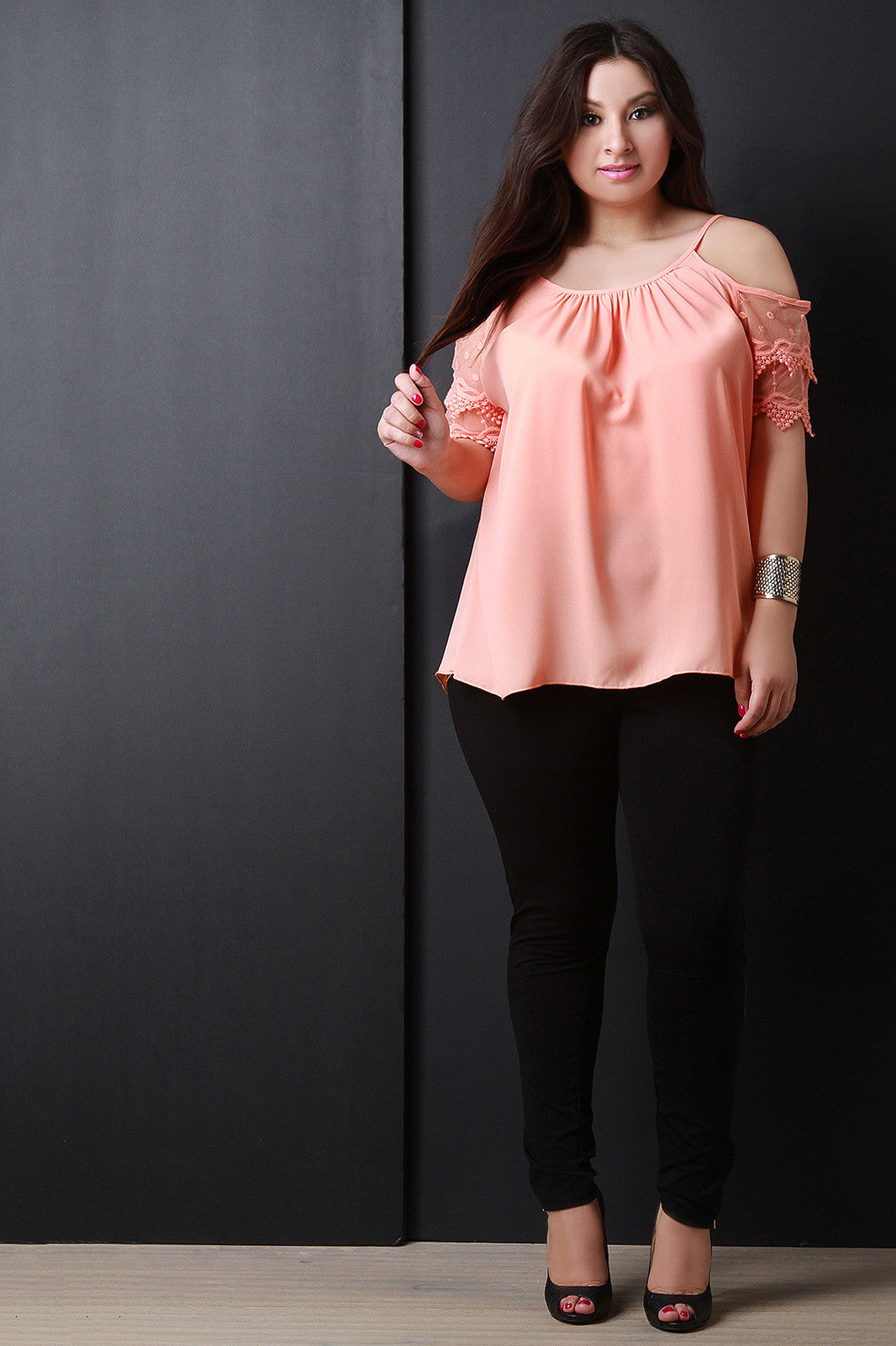 Lace Short Sleeves Cold Shoulder Top - Thick 'N' Curvy Shop - 3