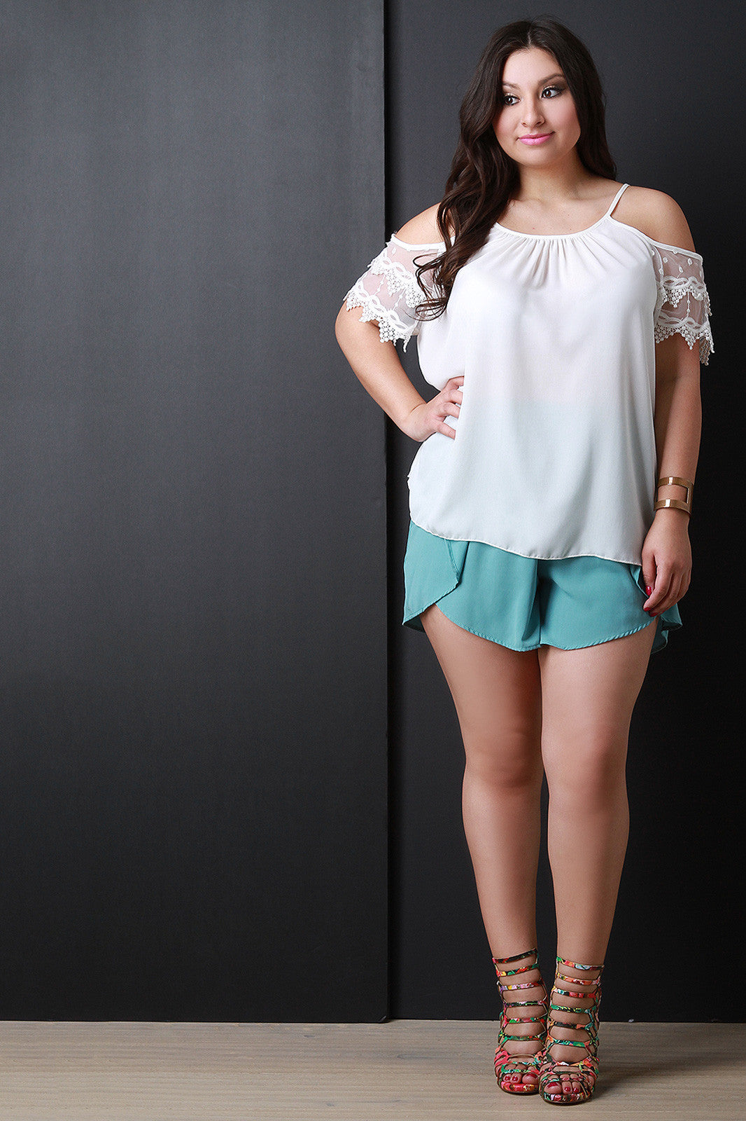Lace Short Sleeves Cold Shoulder Top - Thick 'N' Curvy Shop - 6
