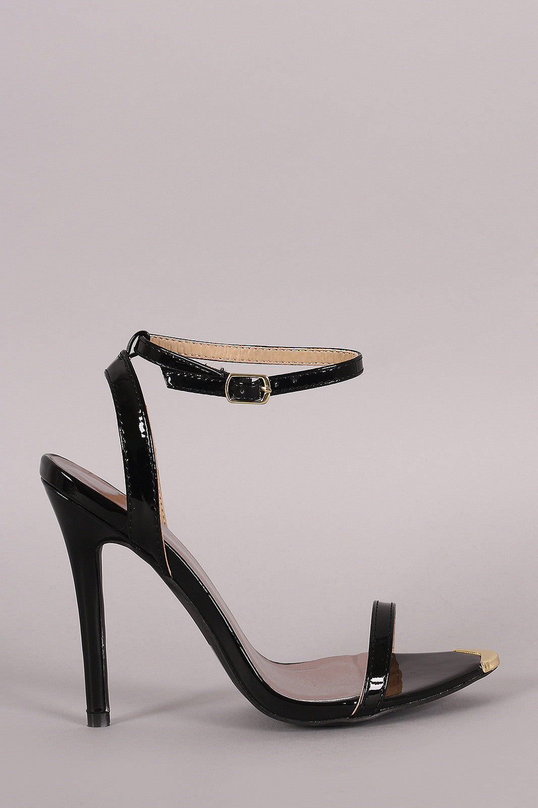 Qupid Patent Gold Tip Ankle Strap Stiletto Heel - Thick 'N' Curvy Shop - 1