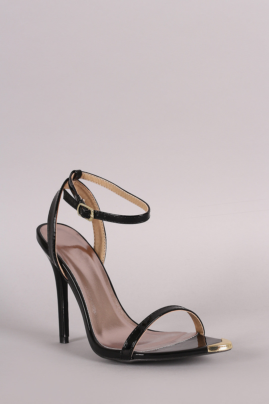 Qupid Patent Gold Tip Ankle Strap Stiletto Heel - Thick 'N' Curvy Shop - 2