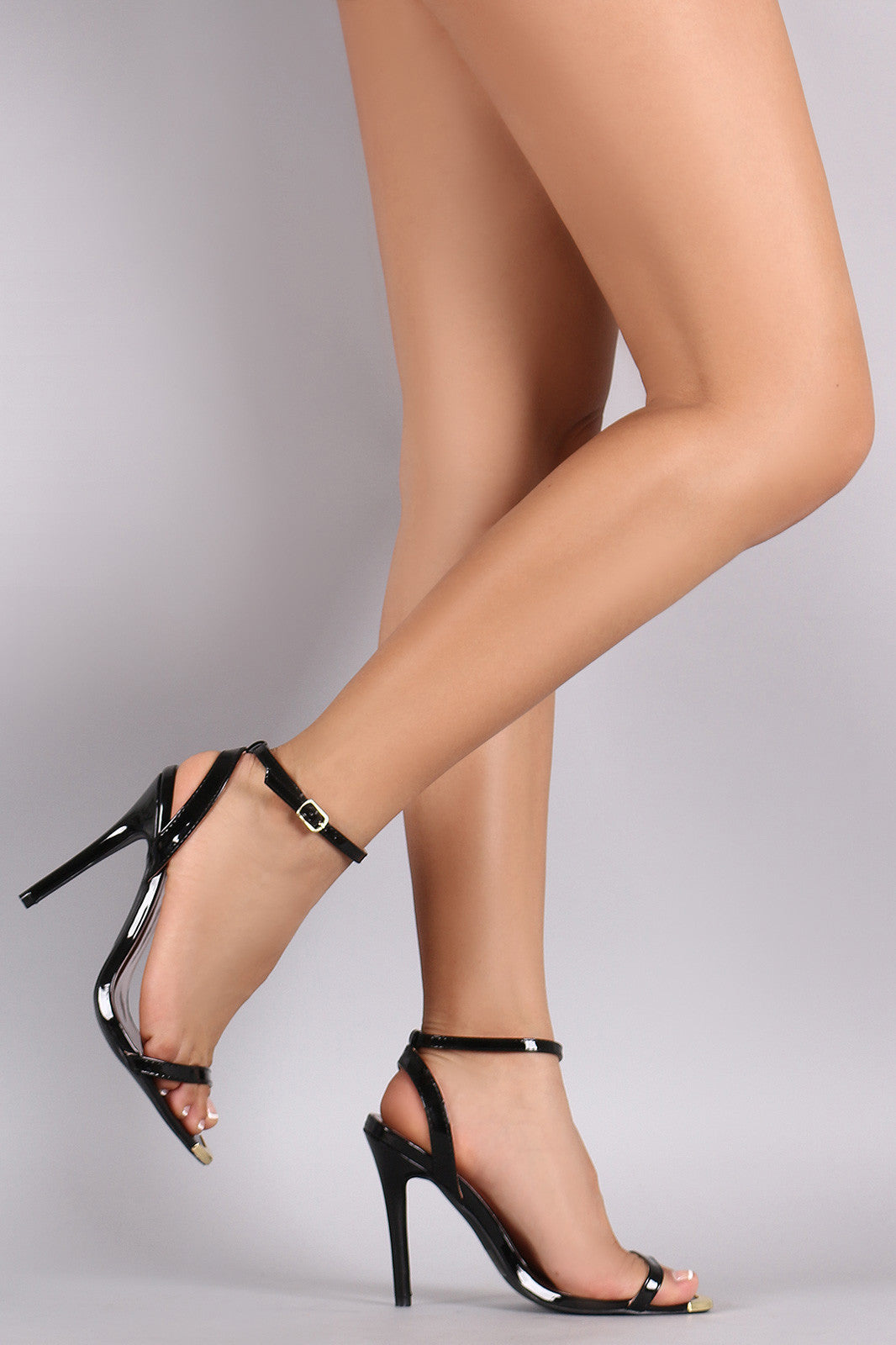 Qupid Patent Gold Tip Ankle Strap Stiletto Heel - Thick 'N' Curvy Shop - 3