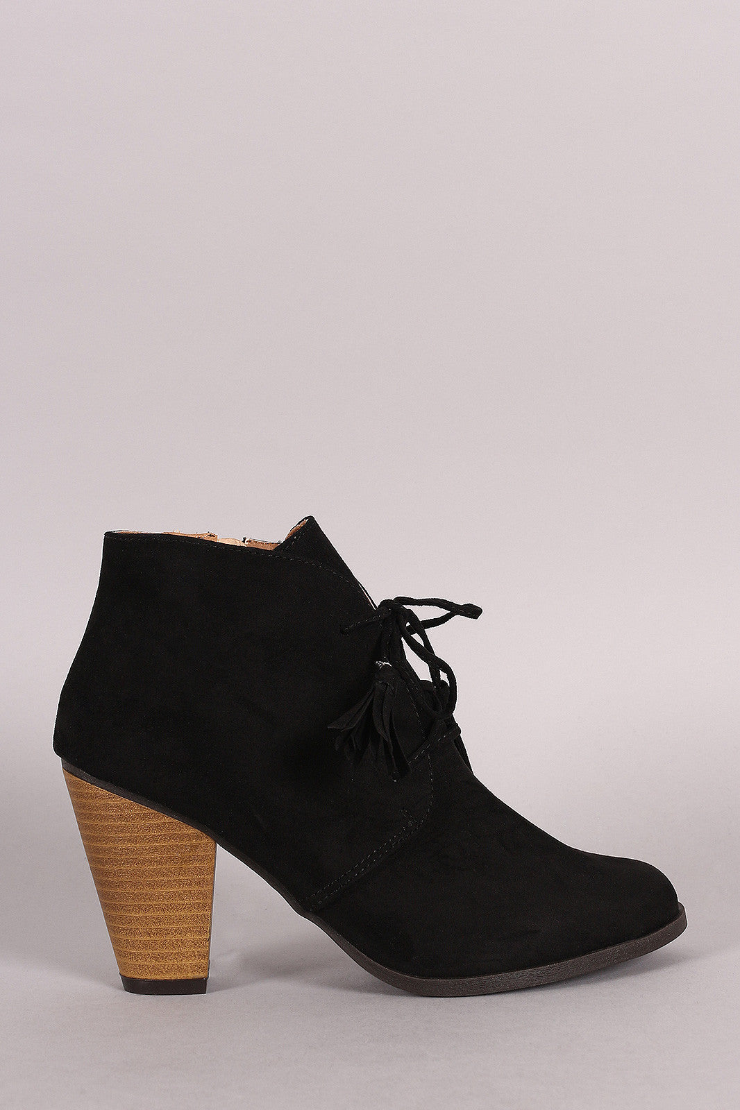 Qupid Suede Western Cowgirl Lace Up Ankle Boots - Thick 'N' Curvy Shop - 1