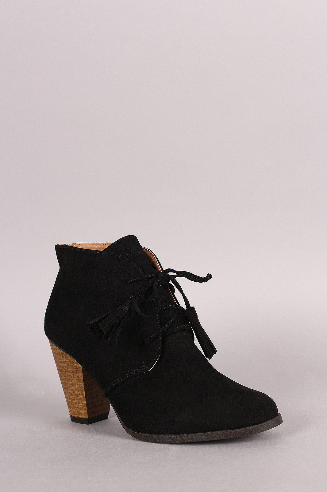 Qupid Suede Western Cowgirl Lace Up Ankle Boots - Thick 'N' Curvy Shop - 2