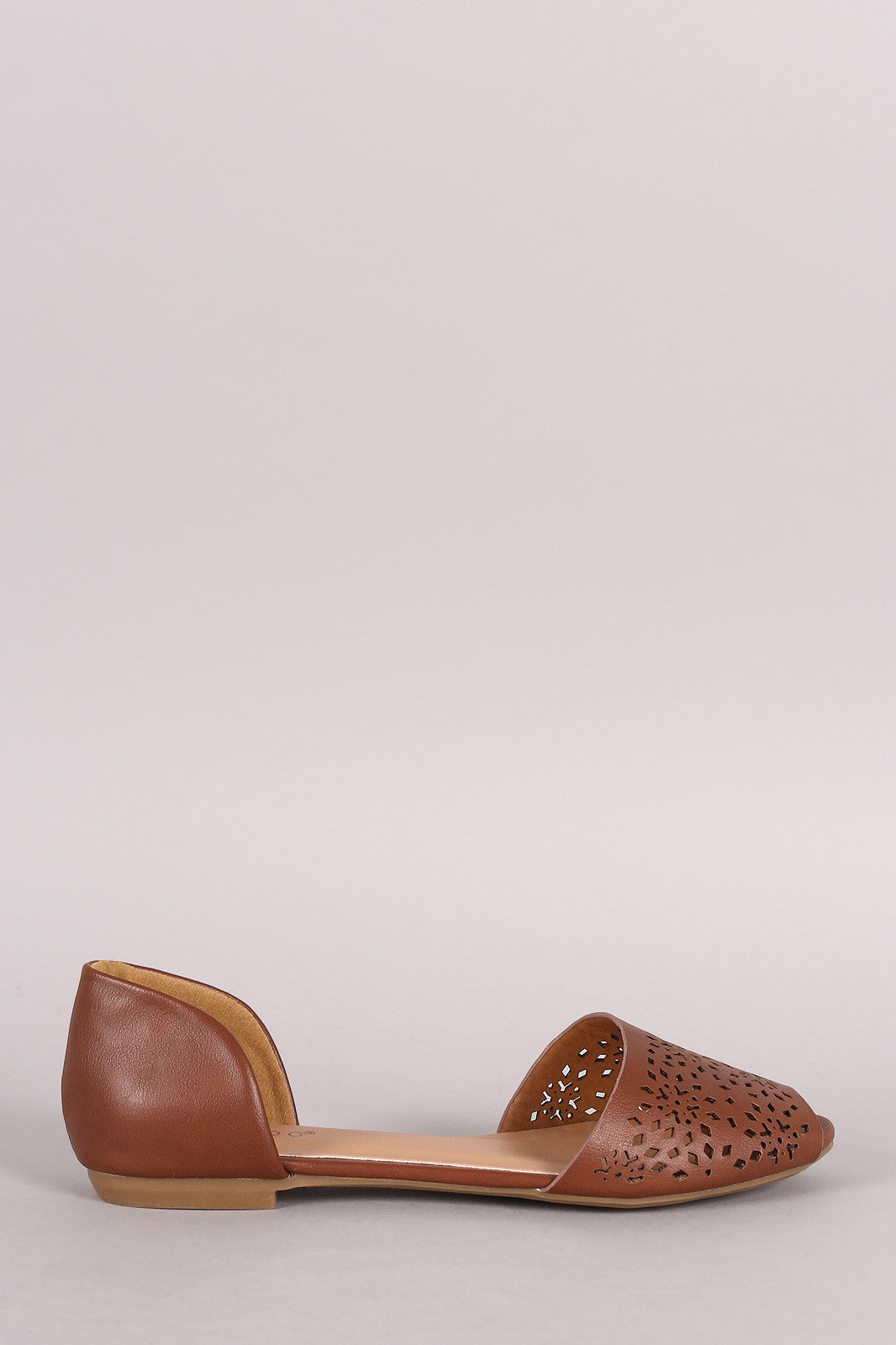 Bamboo Perforated Peep Toe Flat - Thick 'N' Curvy Shop - 1