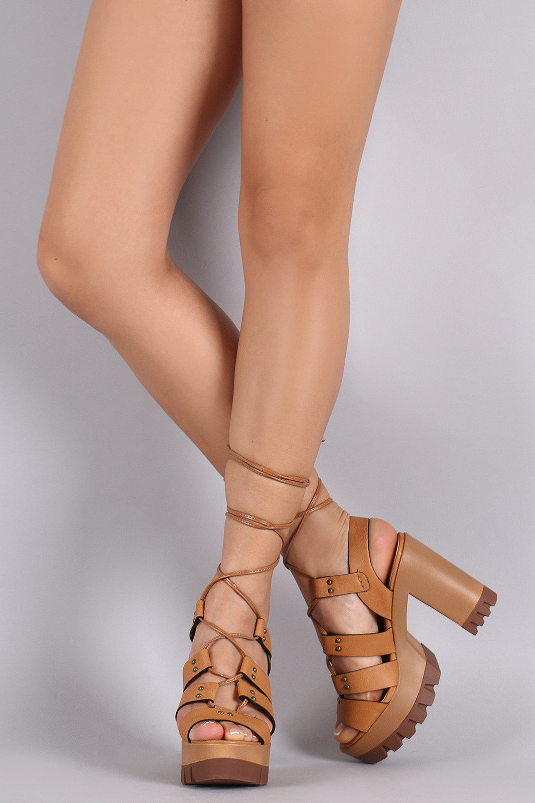 Wild Diva Lounge Strappy Lace-Up Lug Sole Platform Heel - Thick 'N' Curvy Shop - 1