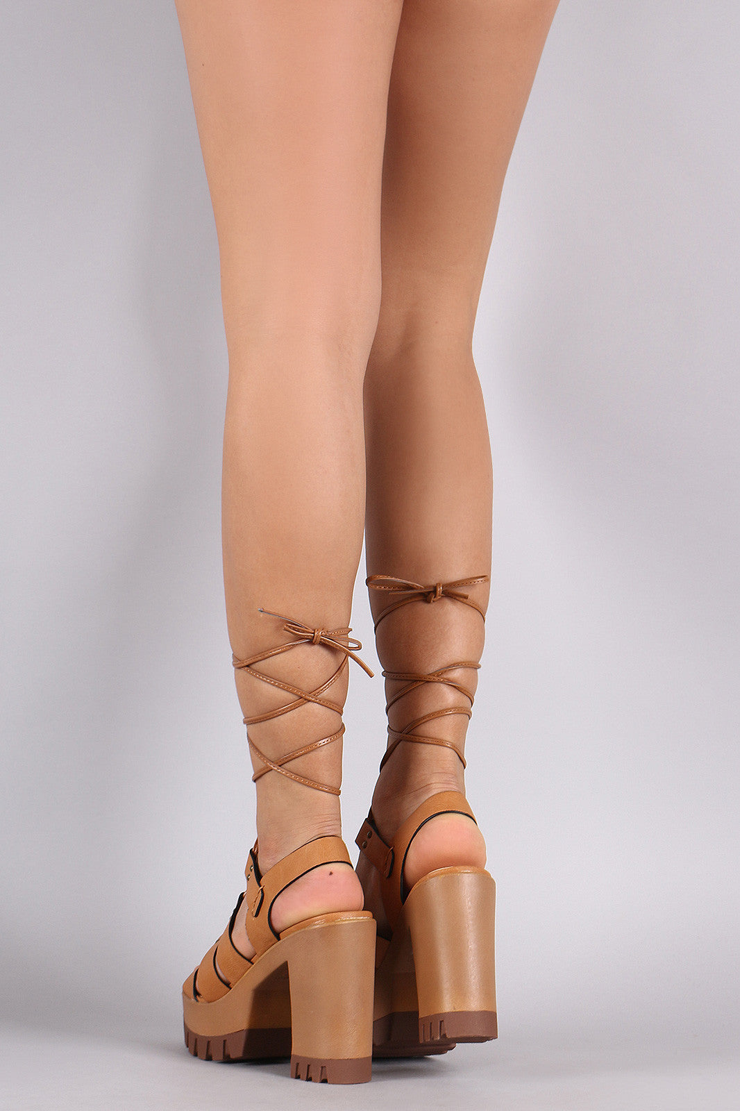 Wild Diva Lounge Strappy Lace-Up Lug Sole Platform Heel - Thick 'N' Curvy Shop - 2