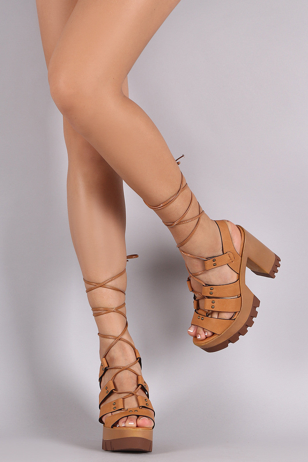 Wild Diva Lounge Strappy Lace-Up Lug Sole Platform Heel - Thick 'N' Curvy Shop - 3