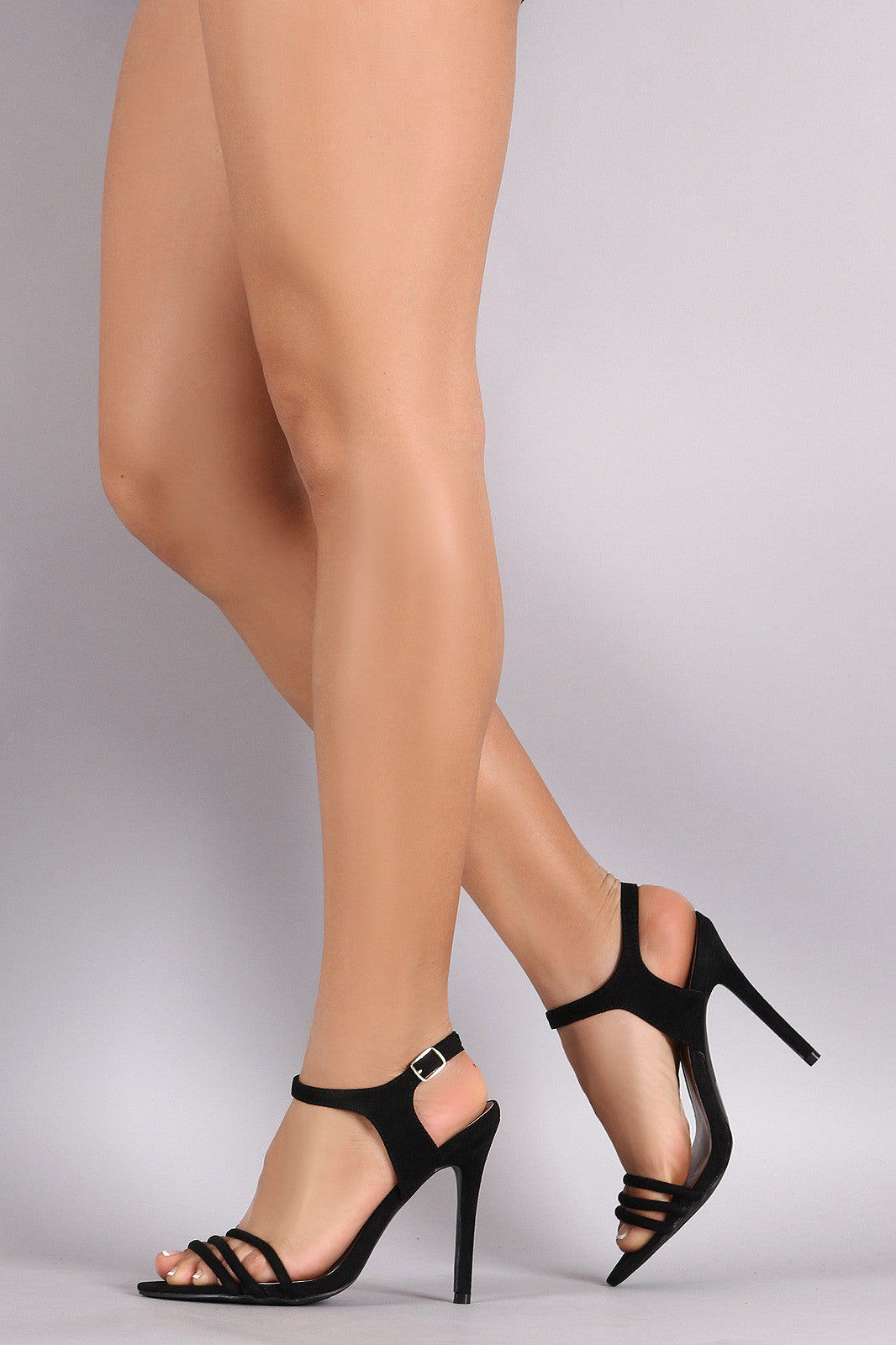 Qupid Suede Ankle Strap Sinlge Sole Heel - Thick 'N' Curvy Shop - 3