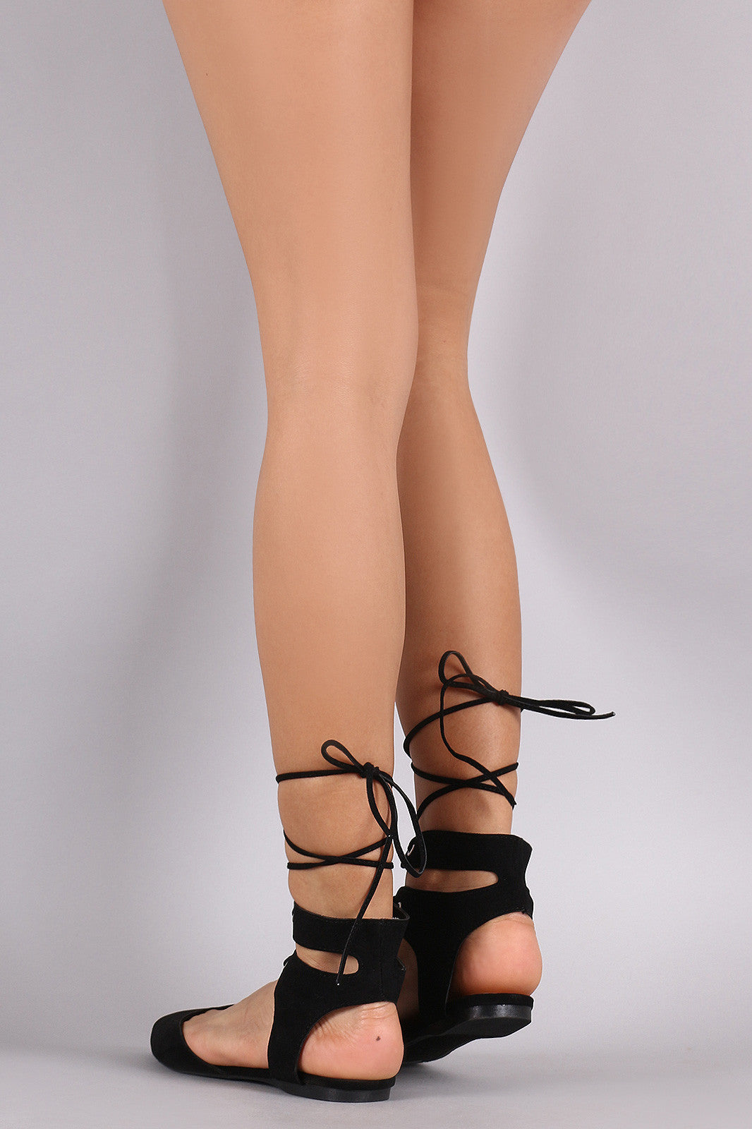 Breckelle Cutouts Ankle Cuff Pointy Toe Flat - Thick 'N' Curvy Shop - 12