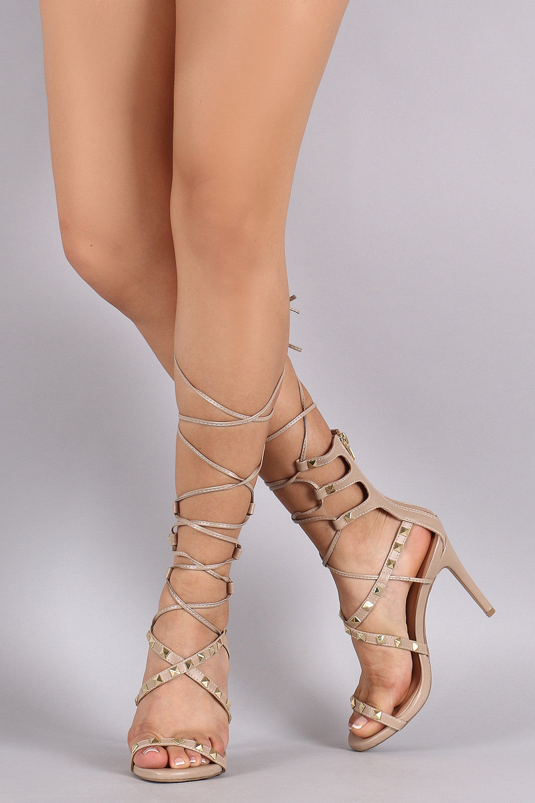 Wild Diva Lounge Studded Strappy Lace-Up Heel - Thick 'N' Curvy Shop - 1