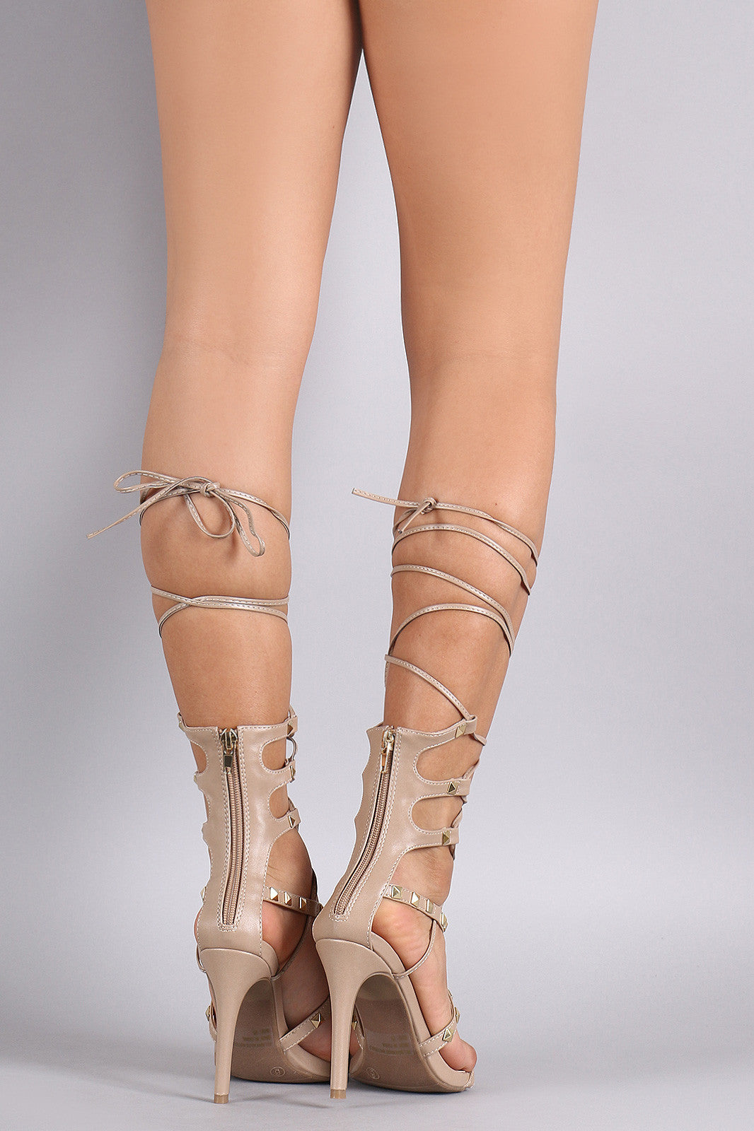 Wild Diva Lounge Studded Strappy Lace-Up Heel - Thick 'N' Curvy Shop - 2