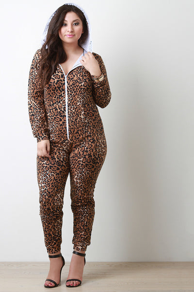 Cheetah Zipper Hoodie Jumpsuit - Thick 'N' Curvy Shop - 1