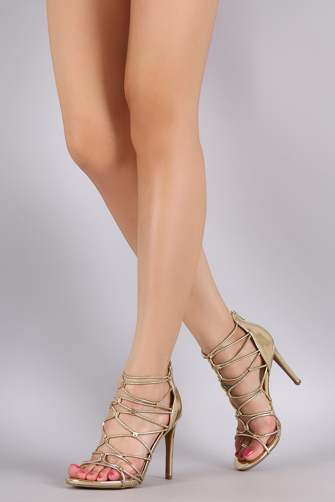 Bamboo Metallic Rhinestone Strappy Stiletto Heel - Thick 'N' Curvy Shop - 1