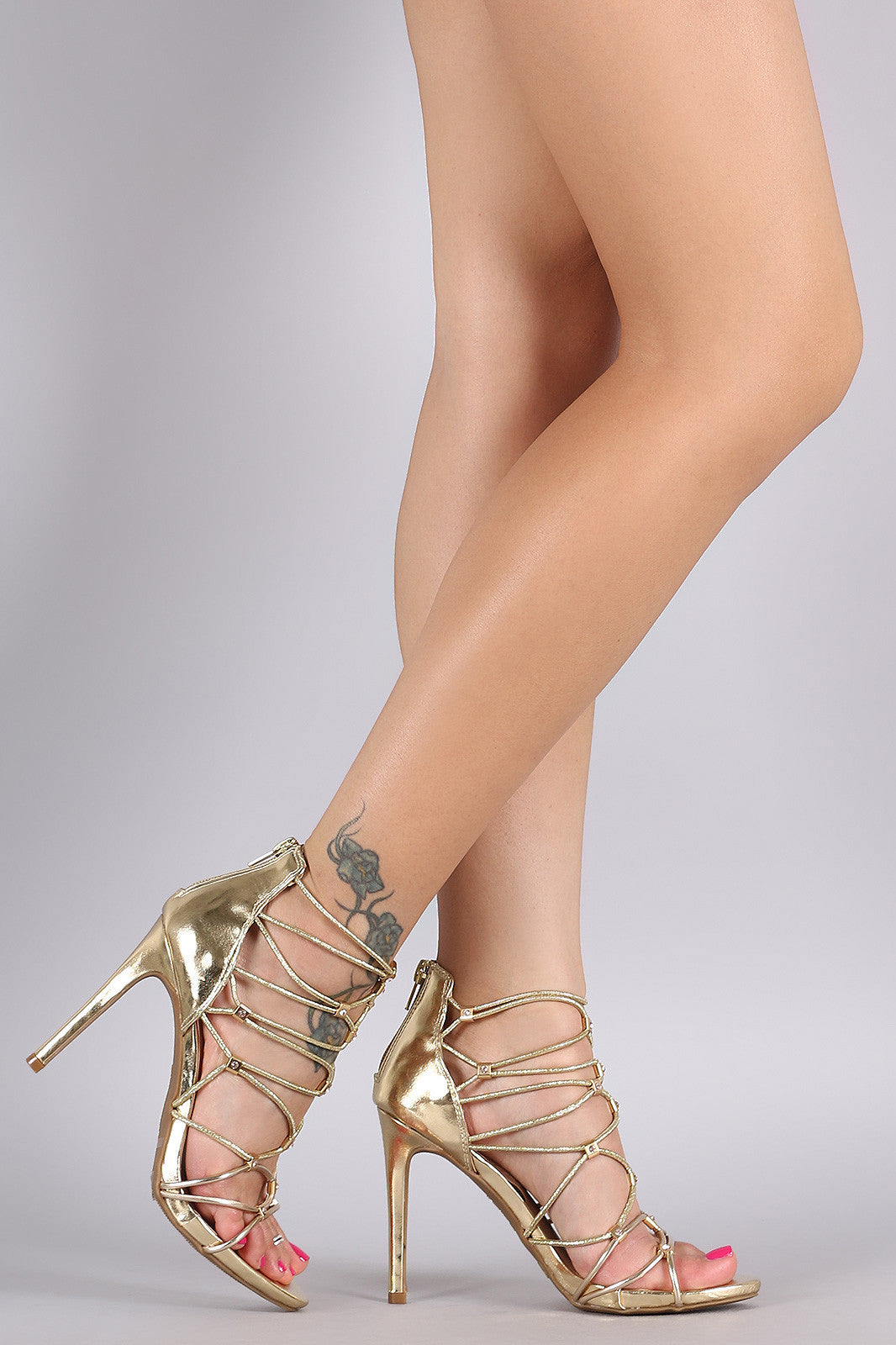 Bamboo Metallic Rhinestone Strappy Stiletto Heel - Thick 'N' Curvy Shop - 2