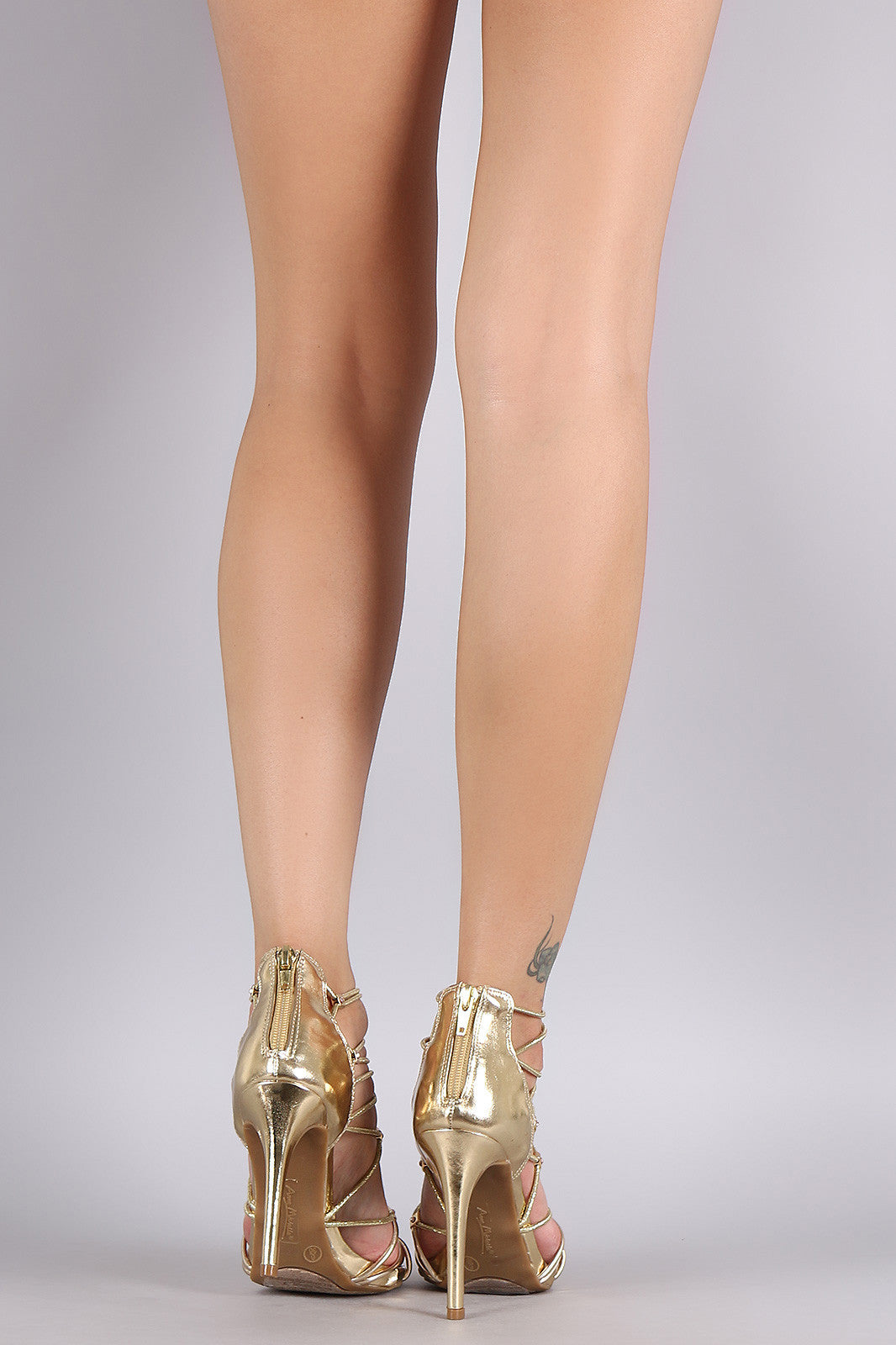 Bamboo Metallic Rhinestone Strappy Stiletto Heel - Thick 'N' Curvy Shop - 3