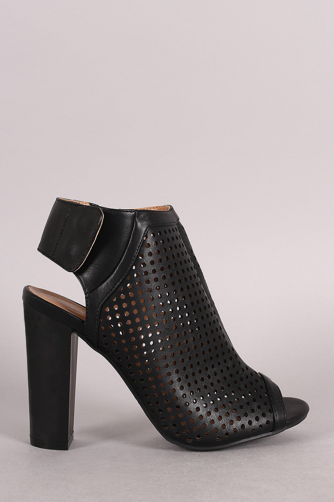Bamboo Perforated Peep Toe Chunky Mule Heel - Thick 'N' Curvy Shop - 4
