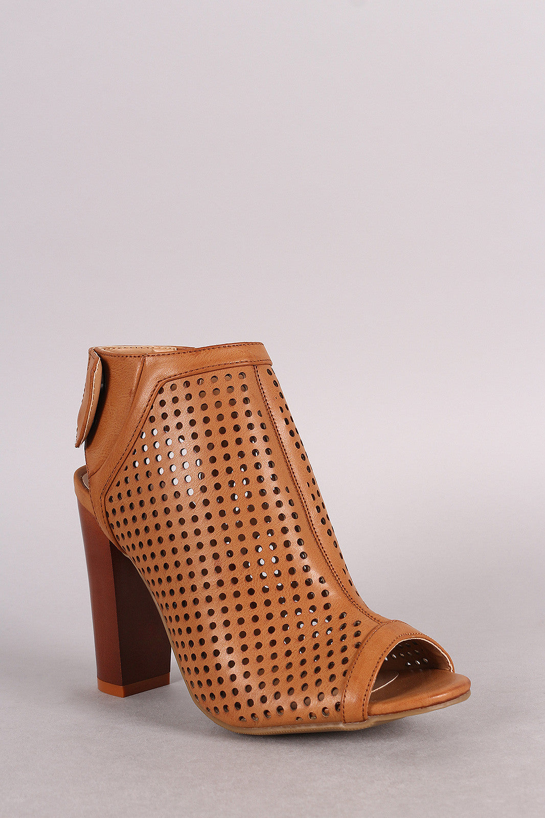 Bamboo Perforated Peep Toe Chunky Mule Heel - Thick 'N' Curvy Shop - 2