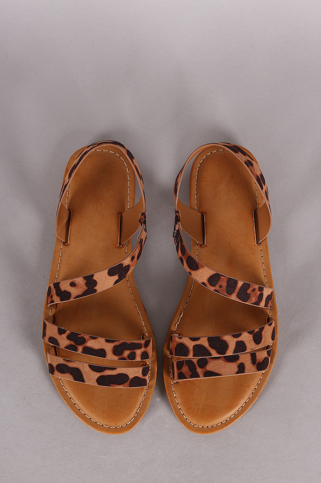 Bamboo Leopard Strappy Asymmetrical Flat Sandal - Thick 'N' Curvy Shop - 1