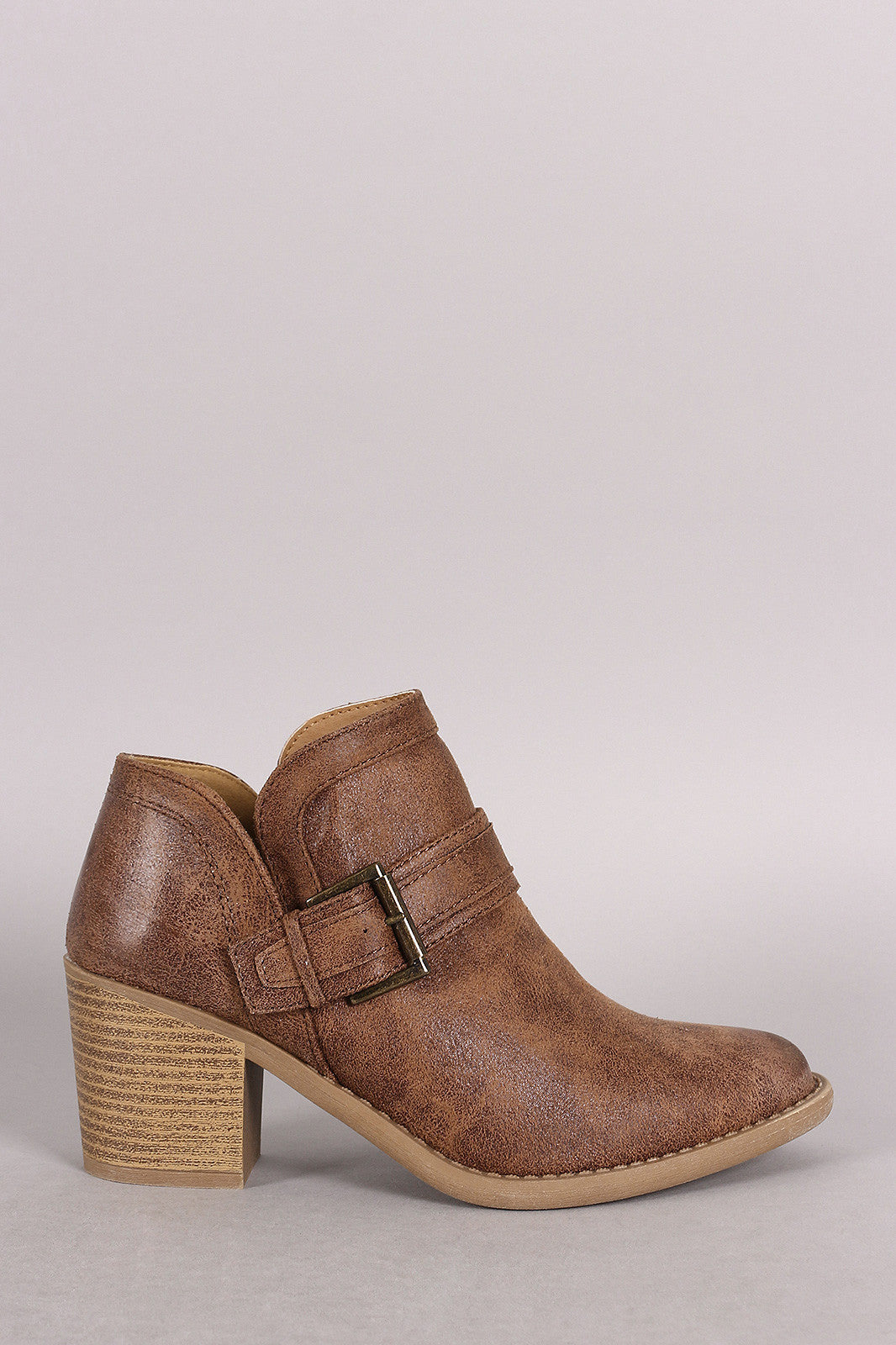 Qupid Buckled Cowgirl Chunky Heeled Booties - Thick 'N' Curvy Shop - 7