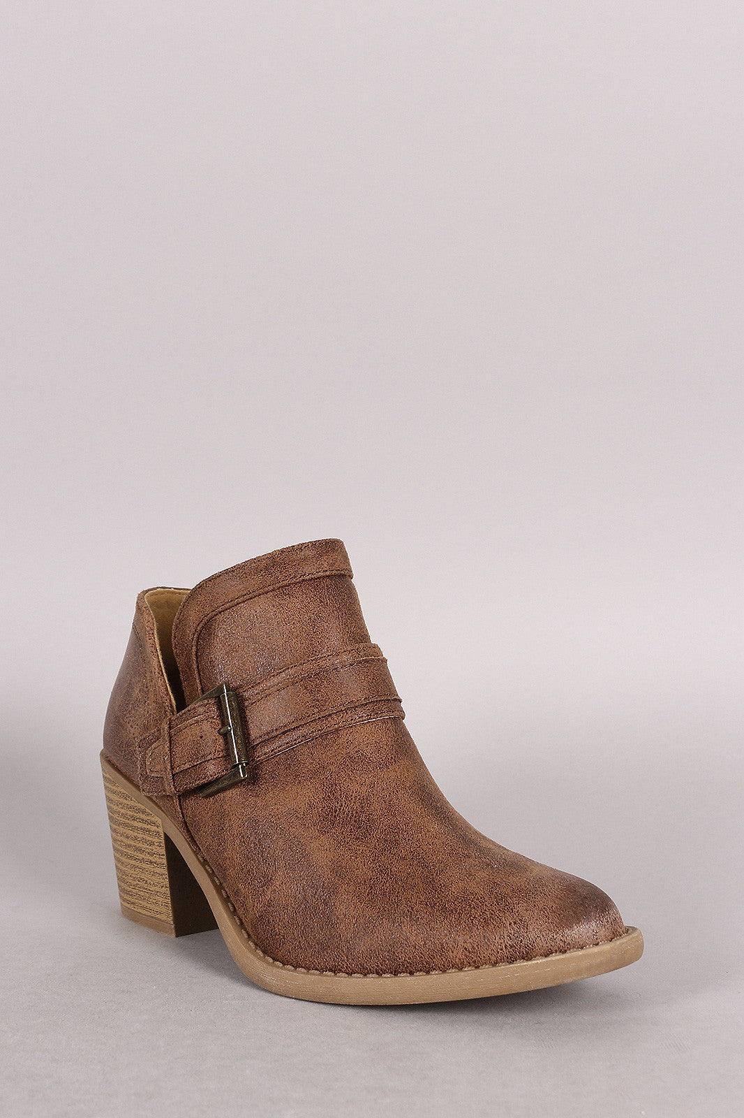 Qupid Buckled Cowgirl Chunky Heeled Booties - Thick 'N' Curvy Shop - 1