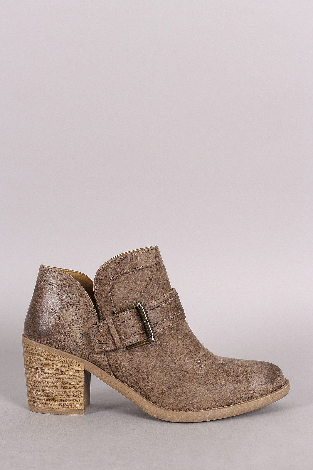 Qupid Buckled Cowgirl Chunky Heeled Booties - Thick 'N' Curvy Shop - 8